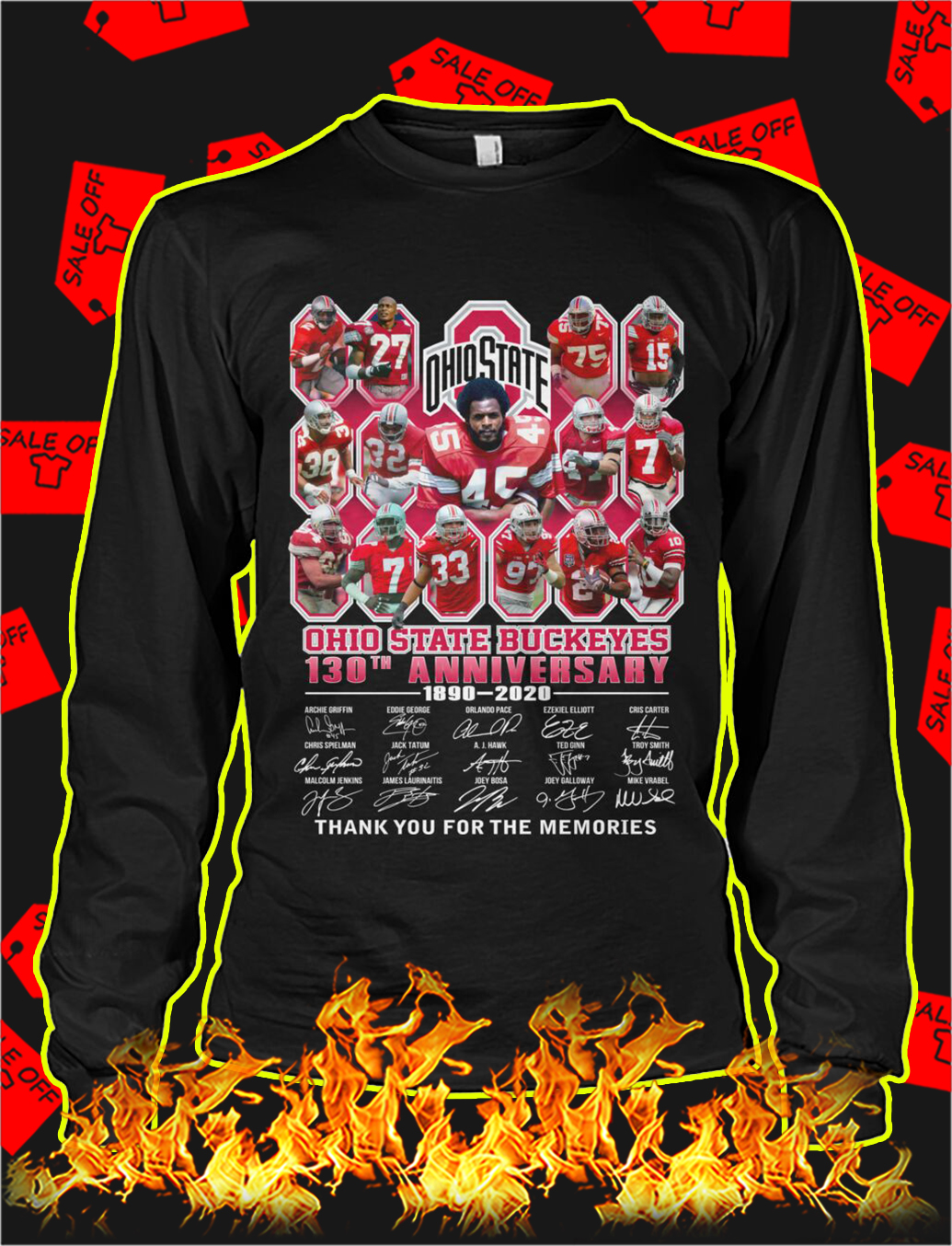 Ohio state buckeyes 130th anniversary thank you for the memories longsleeve tee