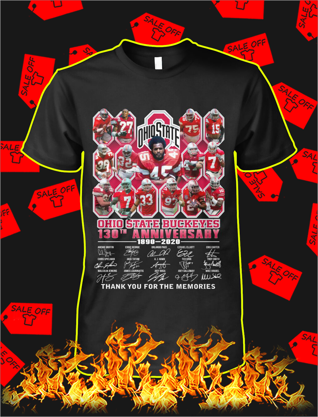 Ohio state buckeyes 130th anniversary thank you for the memories shirt