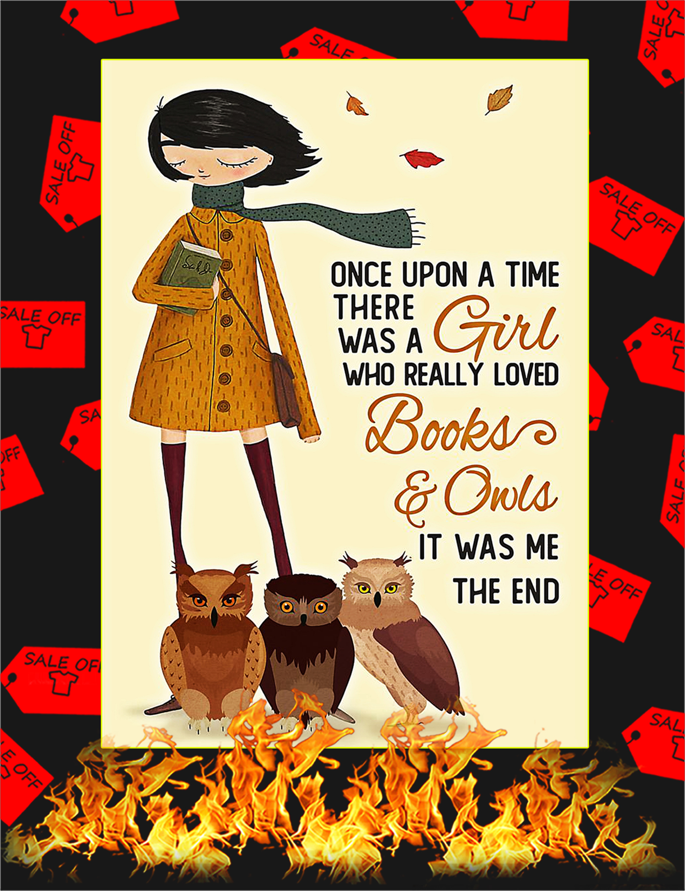 Once upon a time there was a girl who really loved books and owls poster - A1