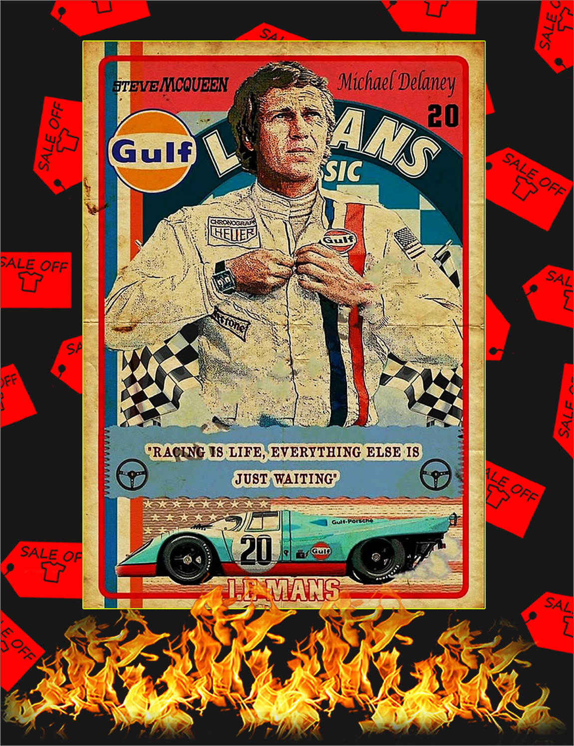 Racing is life everything else is just waiting Steve Mcqueen Poster - A3
