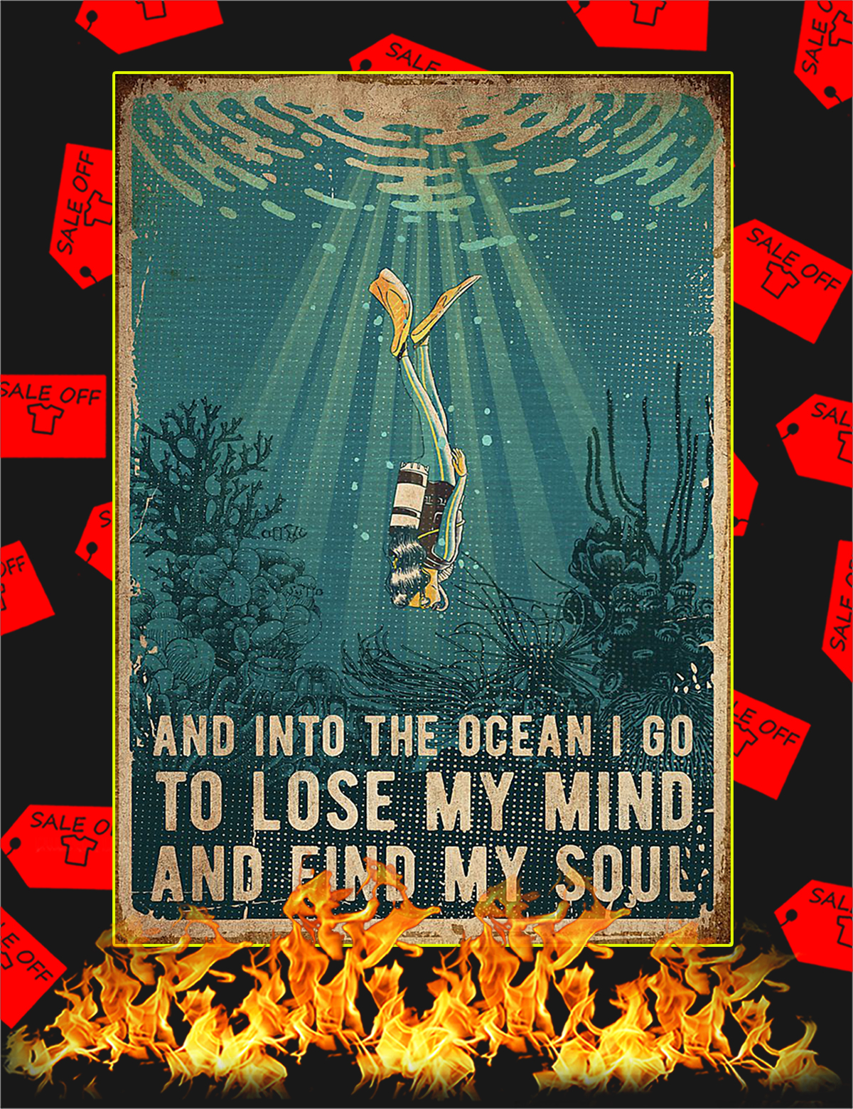 Scuba And into the ocean poster - A1