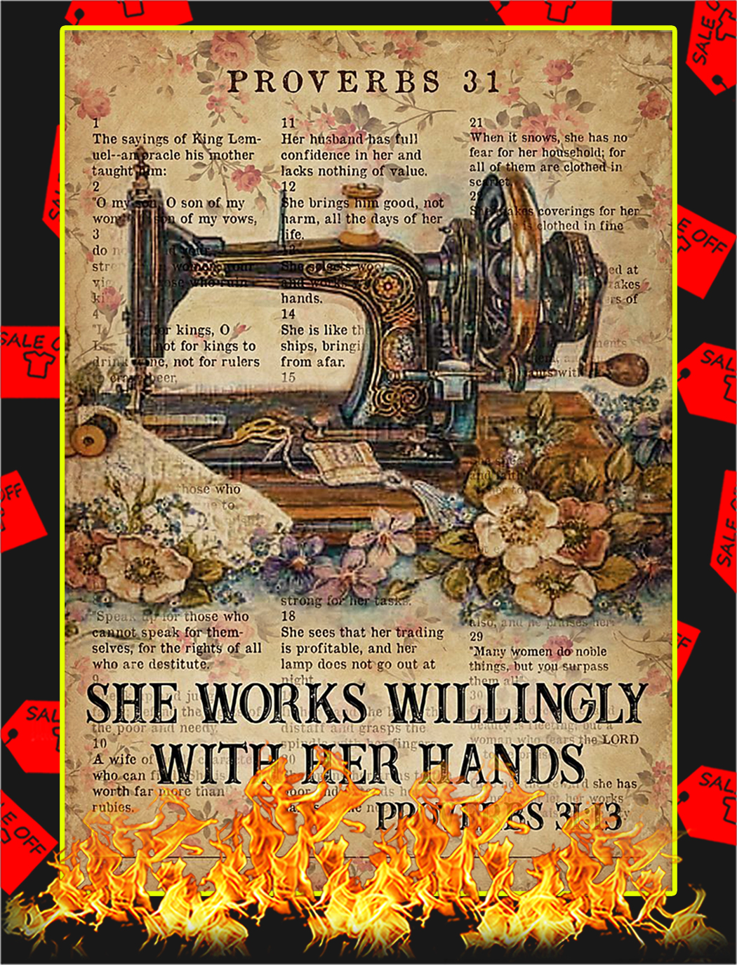 Sewing Proverbs 31 she works willingly with her hands poster - A3