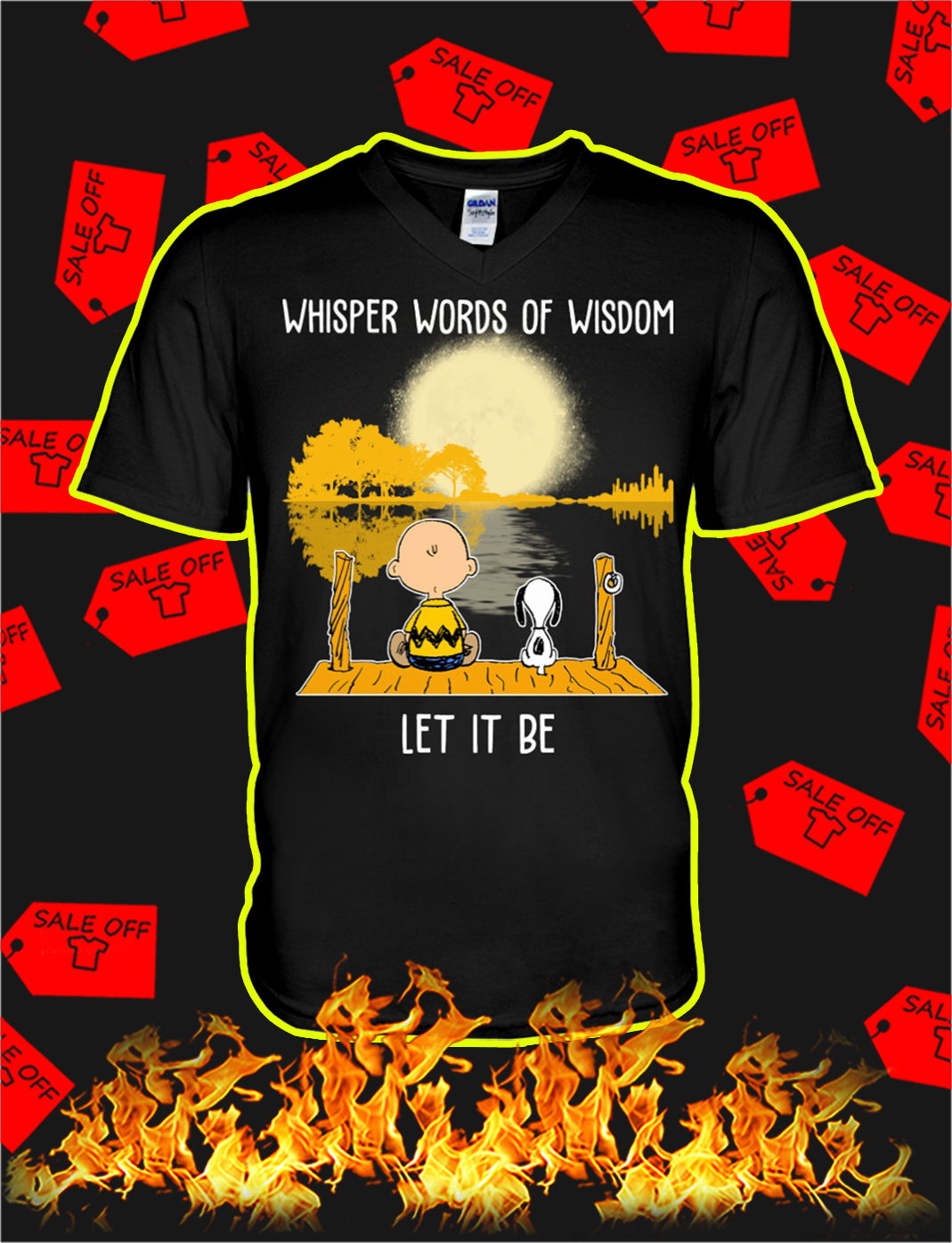 Snoopy and charlie brown Whisper words of wisdom let it be v-neck