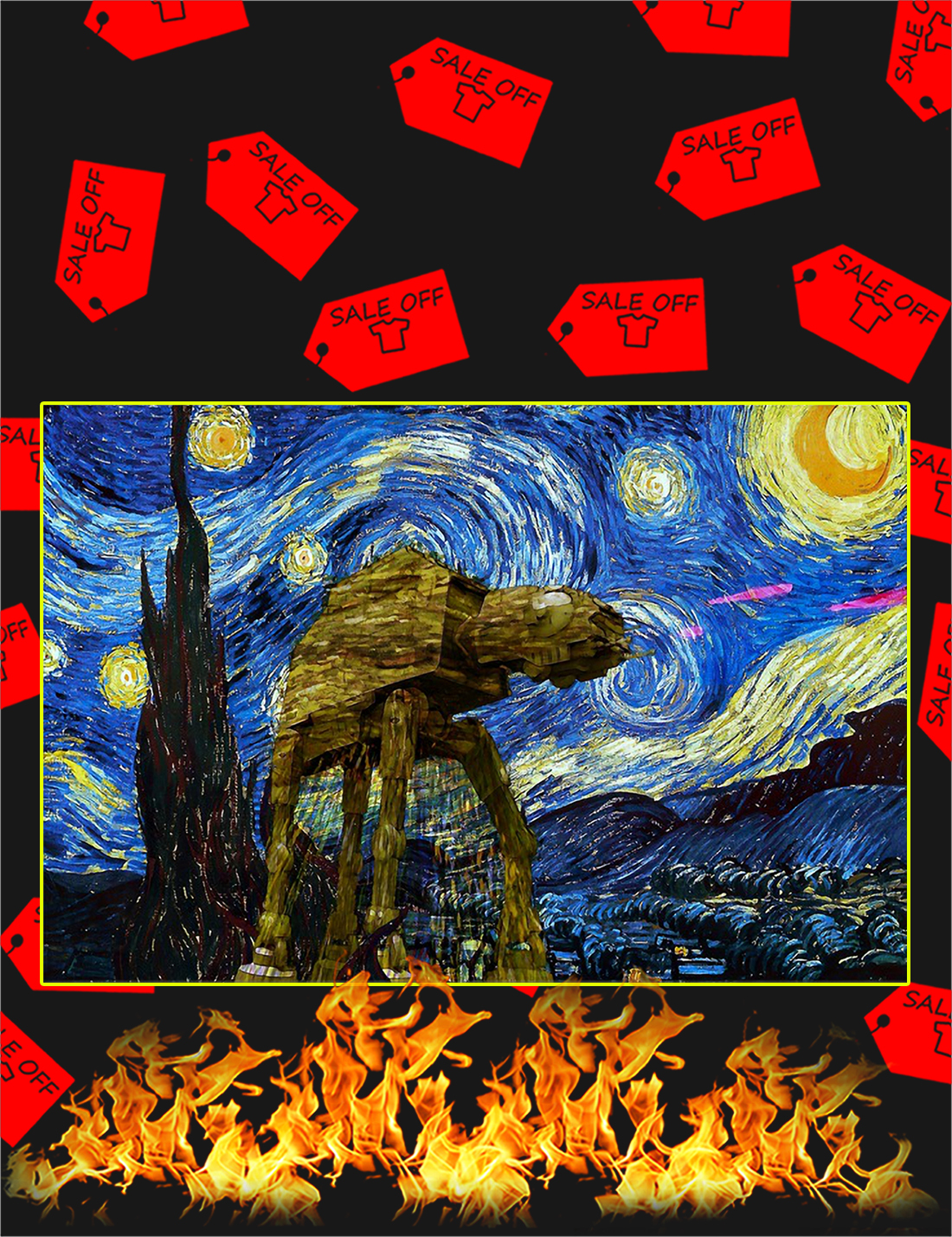 Star Wars ATAT The Starry Night Poster - A4
