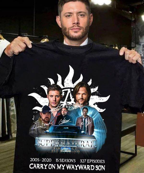 Supernatural 2005 2020 15 seasons 327 episodes carry on my wayward son shirt