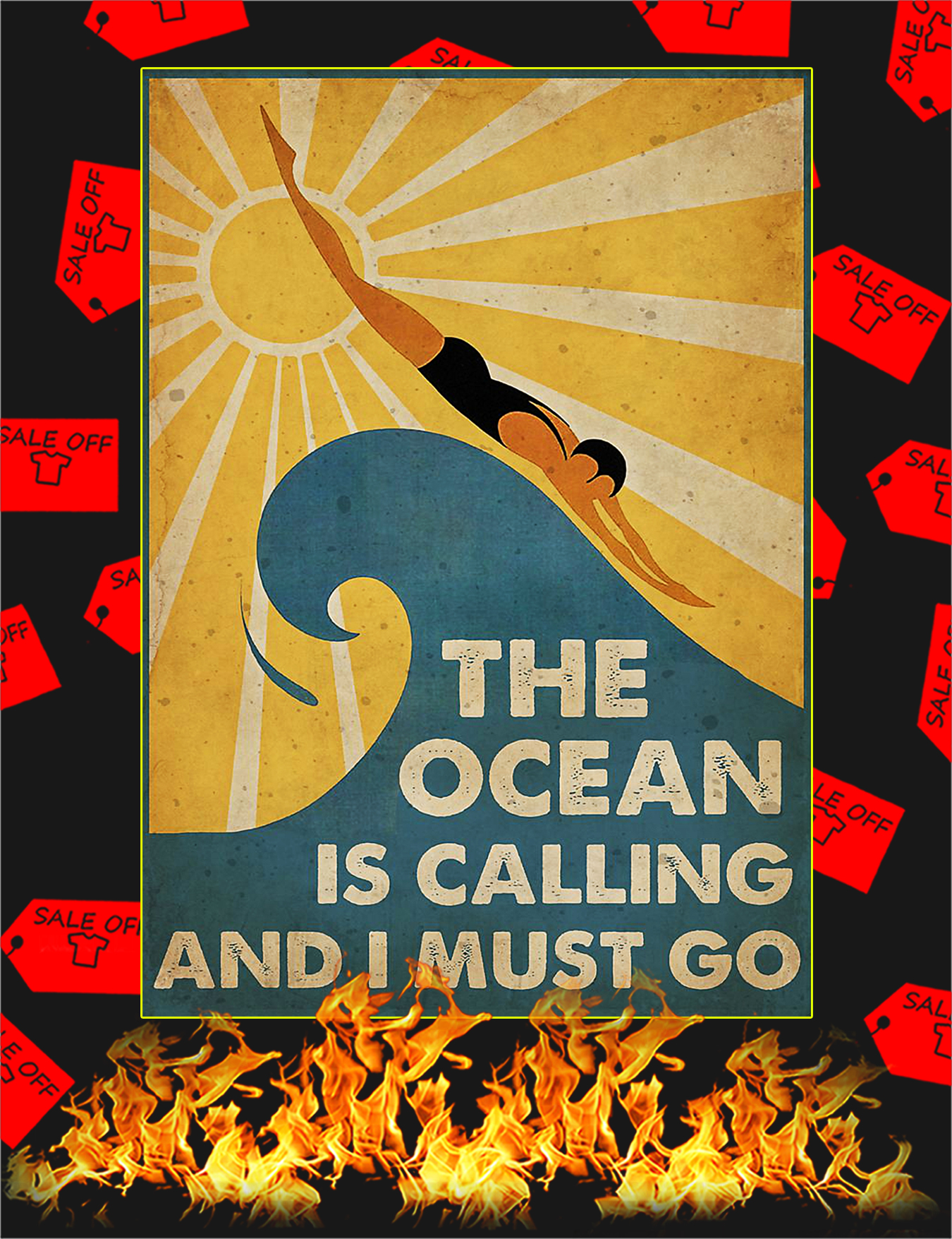 Swimming The ocean is calling and I must go poster - A3