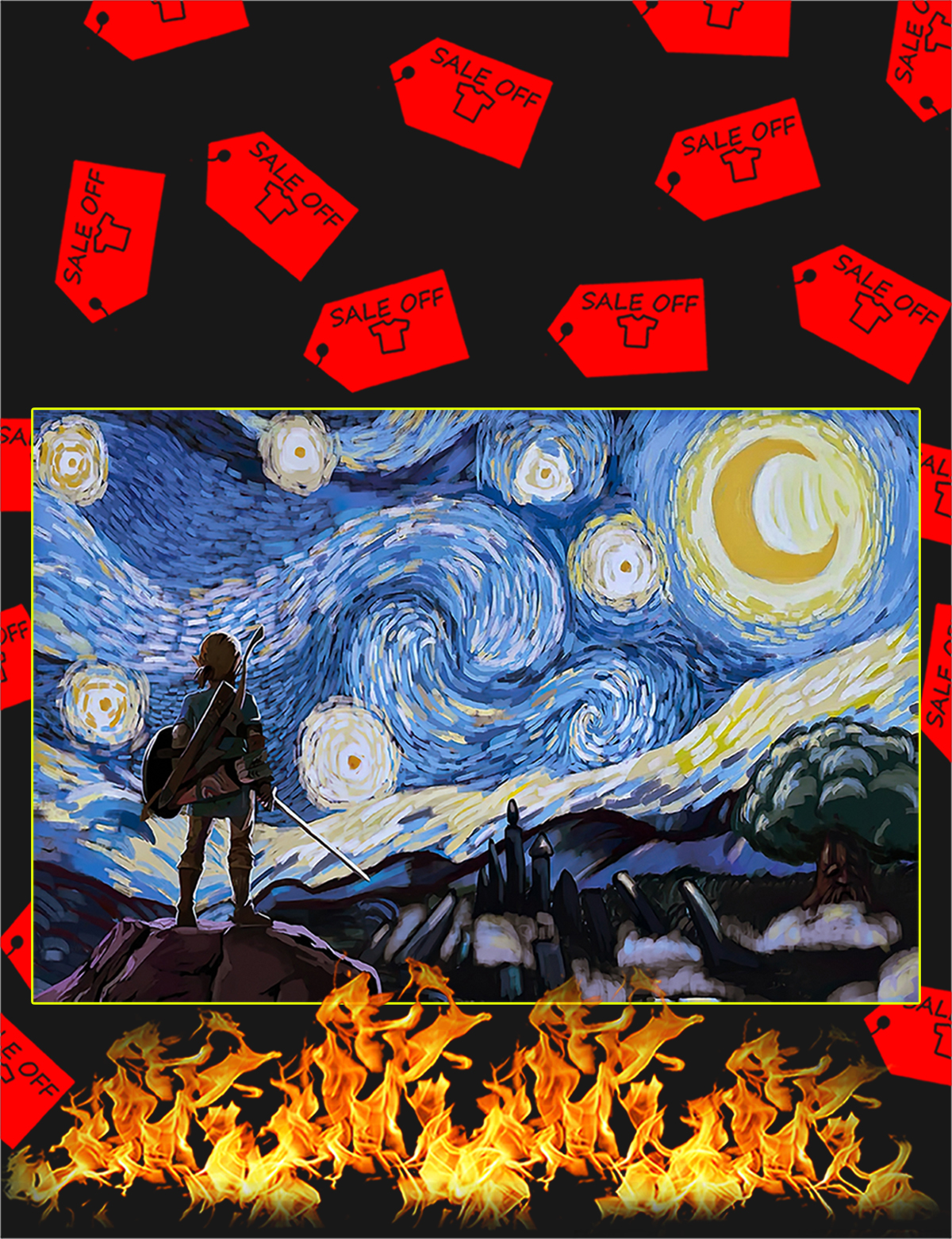 The legend of zelda starry night van gogh poster - A1