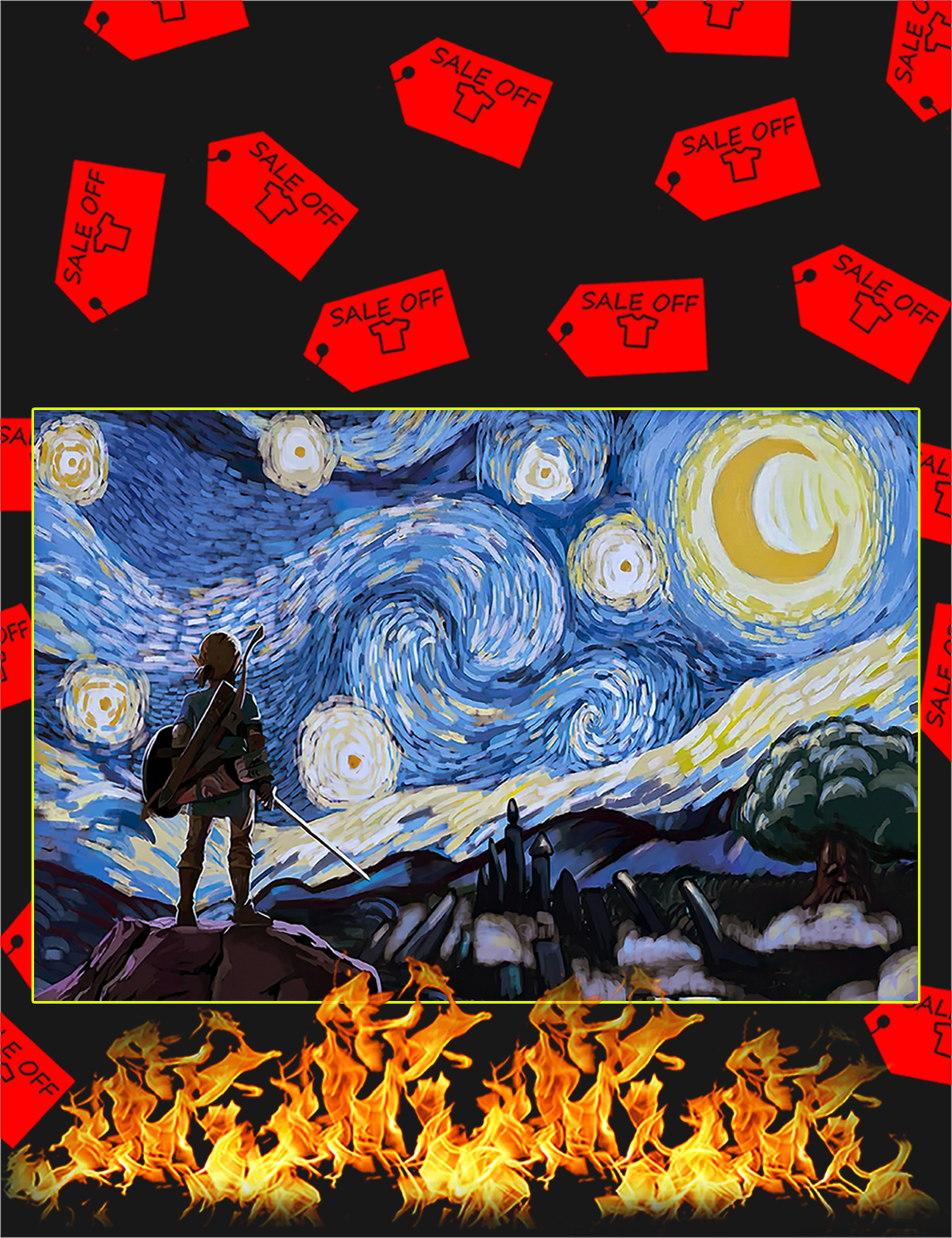 The legend of zelda starry night van gogh poster - A2