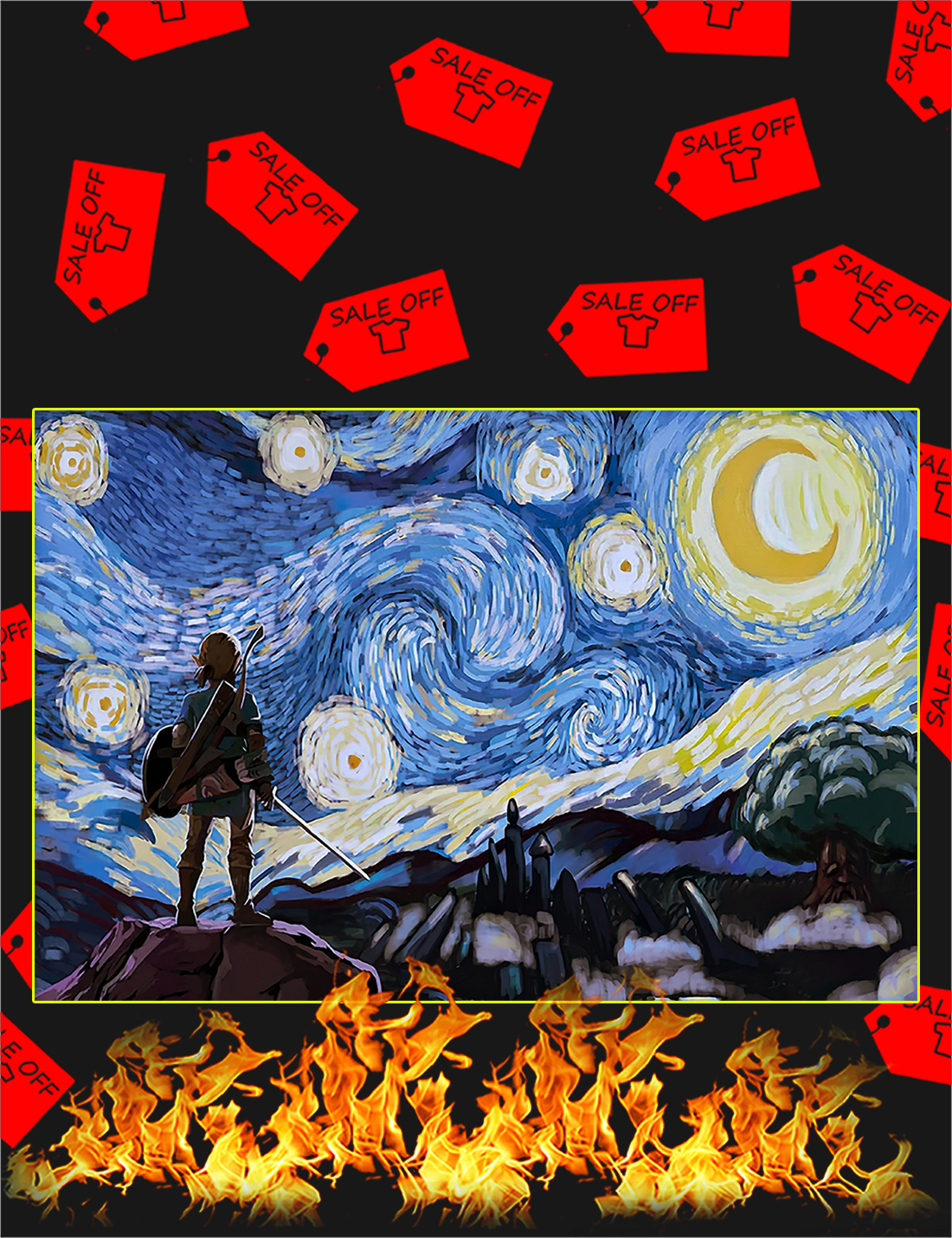 The legend of zelda starry night van gogh poster - A4