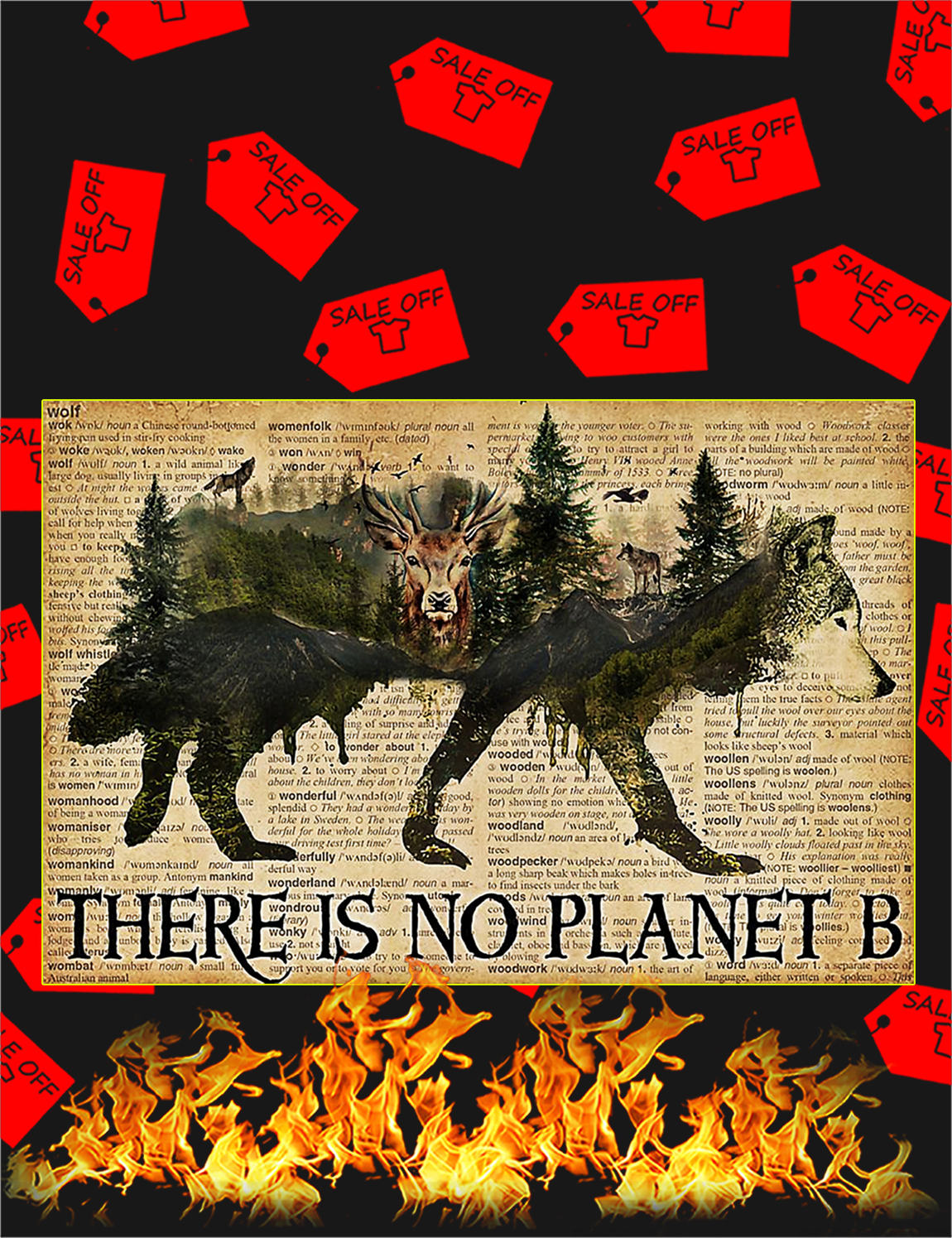 Vintage wolf dictionary there is no planet b poster - A3