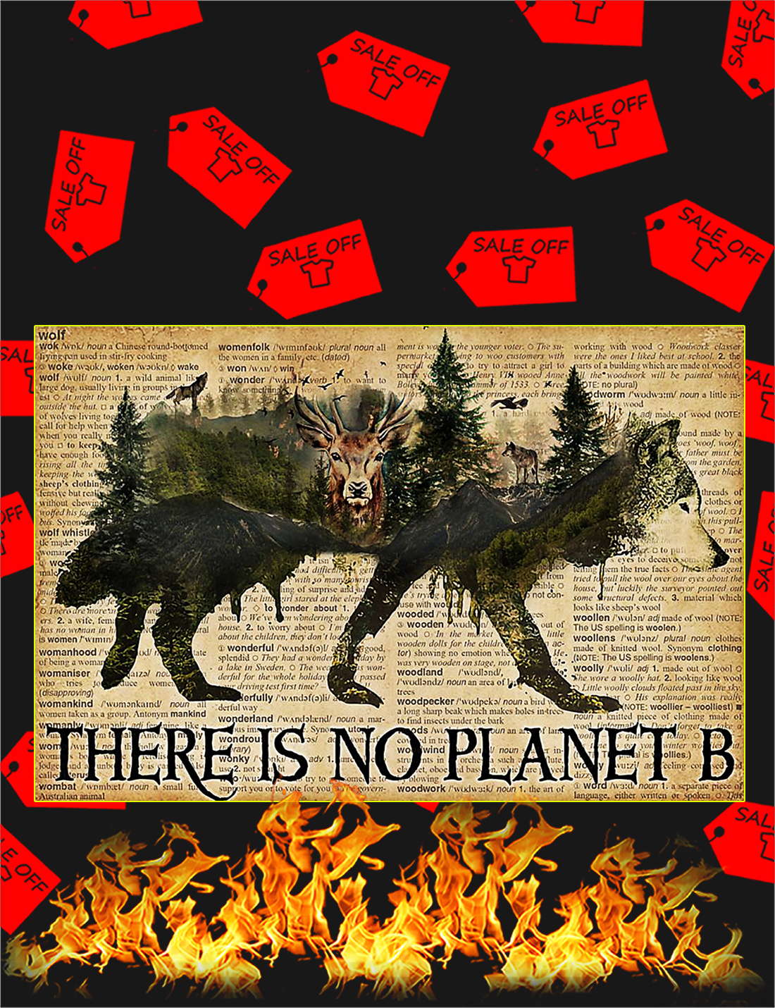 Vintage wolf dictionary there is no planet b poster - A4