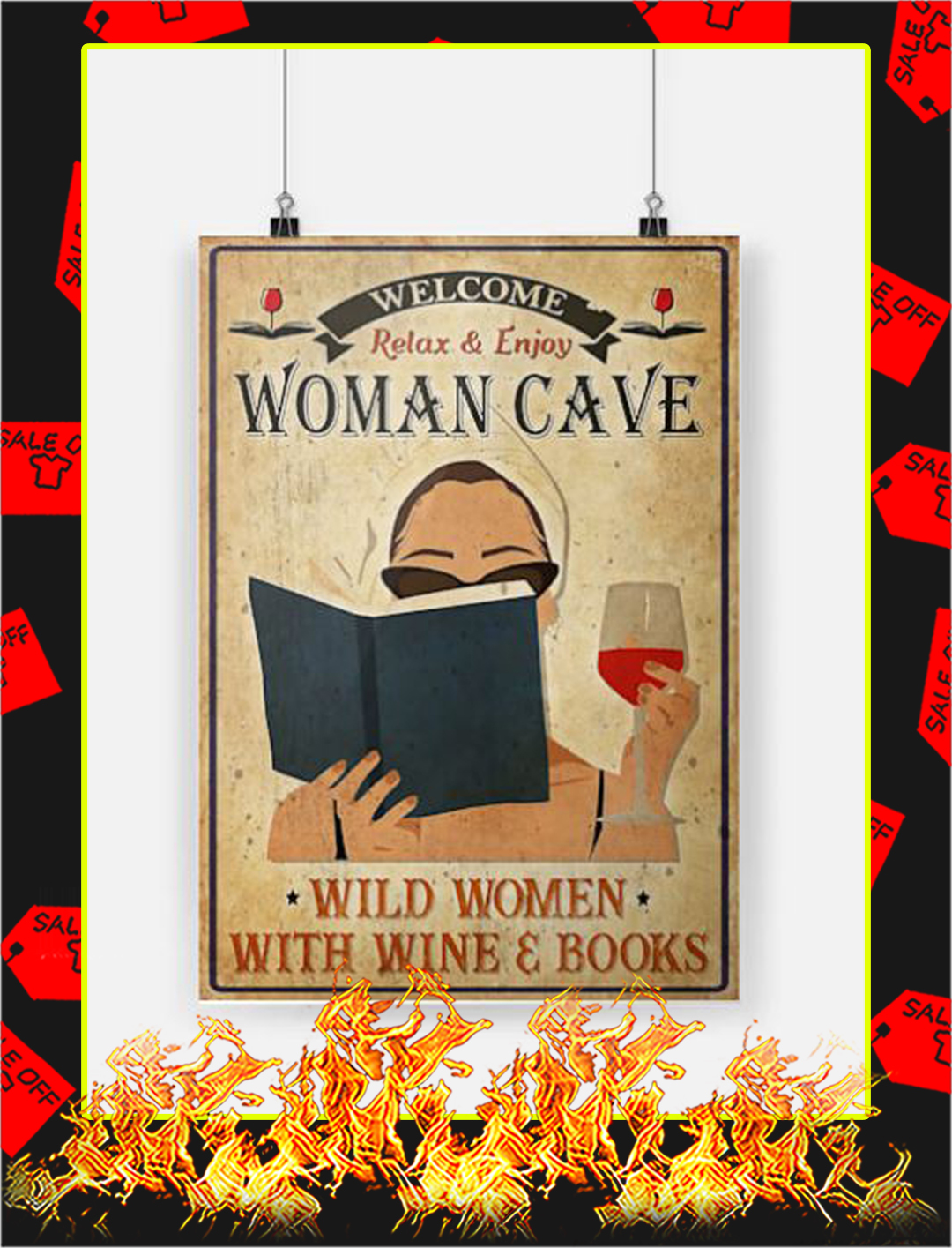 Wine and books welcome relax and enjoy woman cave poster - A2