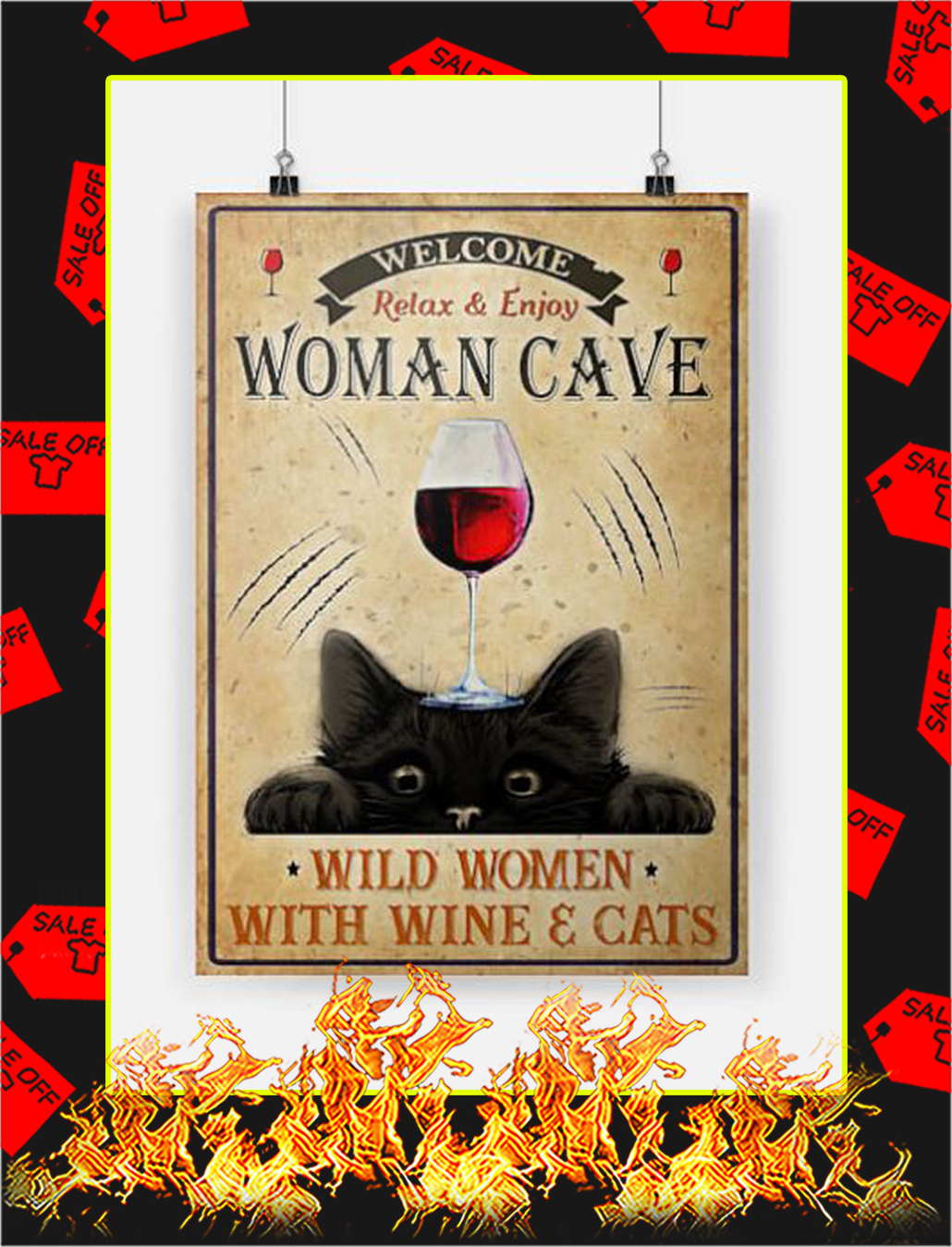 Wine and cats welcome relax and enjoy woman cave poster - A2