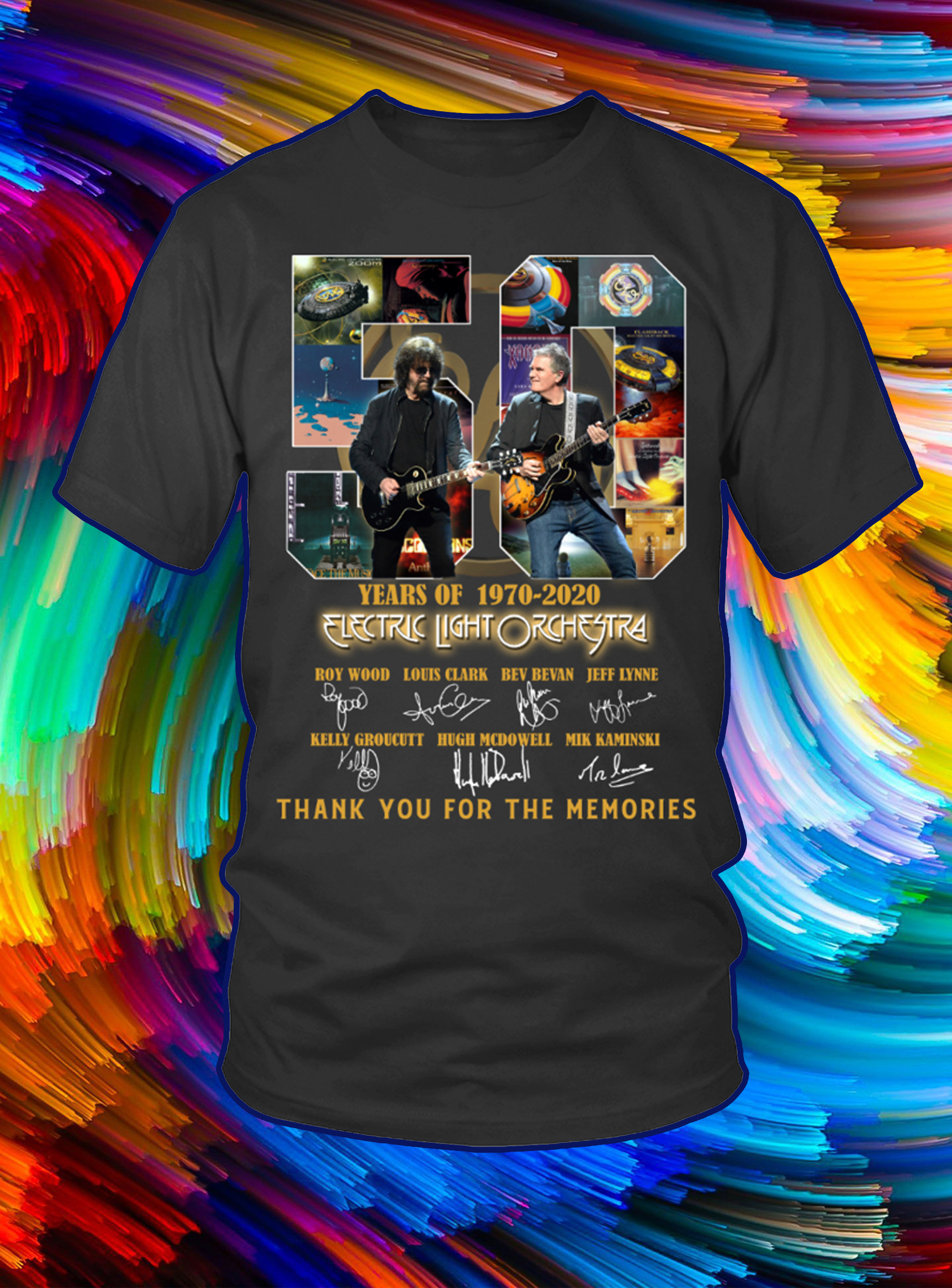 50 years of 1970 2020 electric light orchestra thank you for the memories shirt