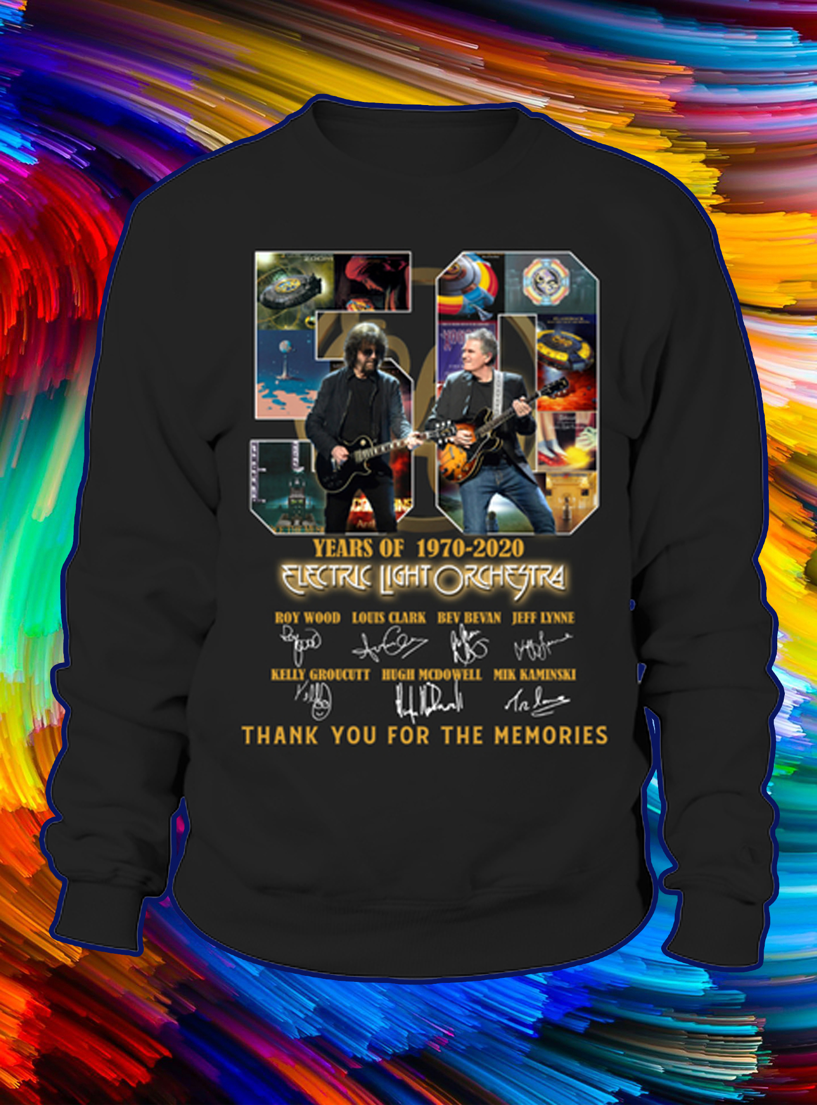 50 years of 1970 2020 electric light orchestra thank you for the memories sweatshirt