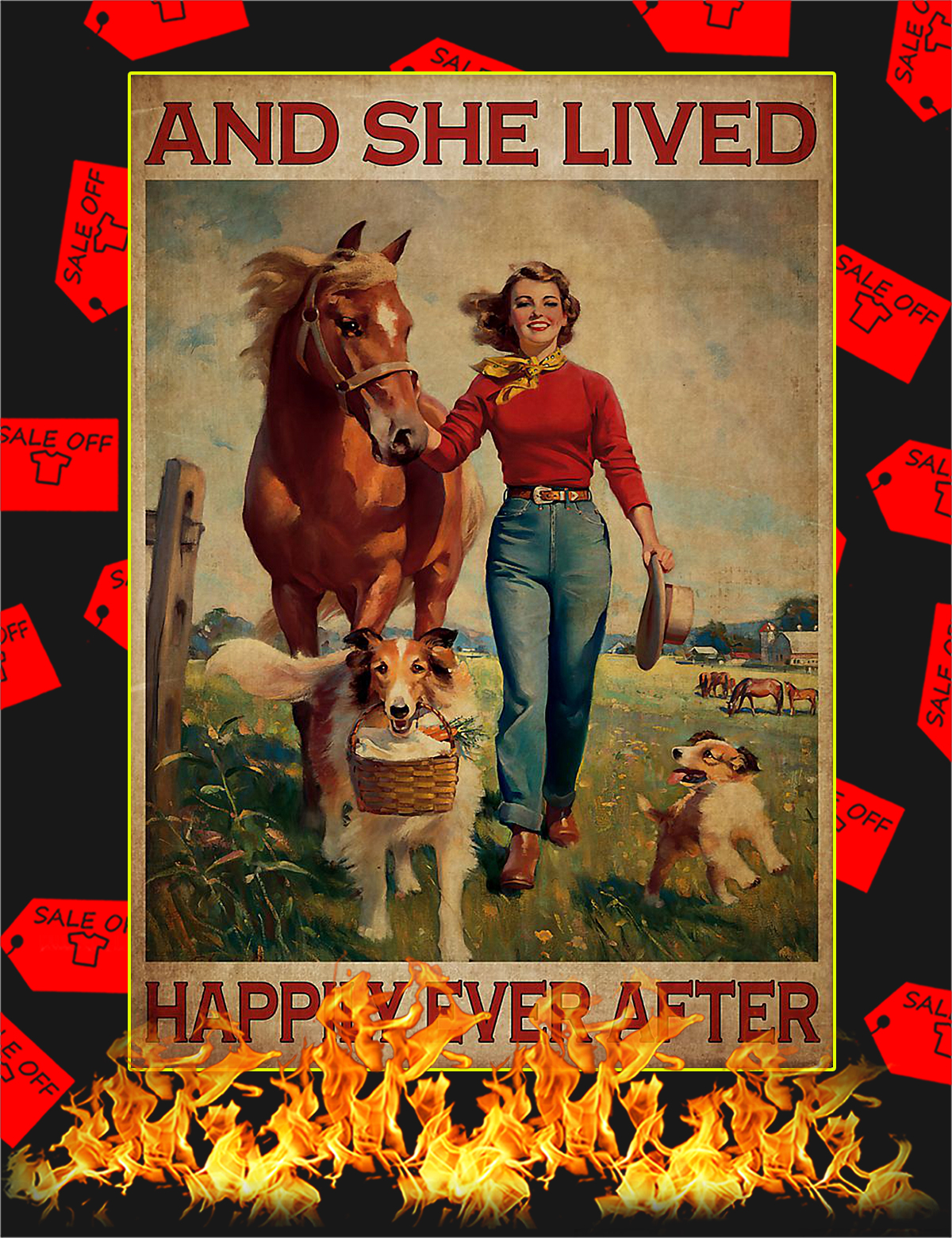 And she lived happily ever after horse and dog poster - A4