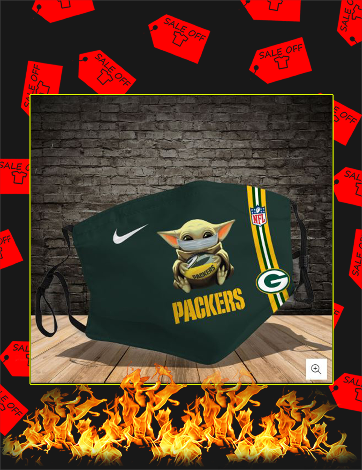 Baby yoda hug green bay packers face mask - Picture 1