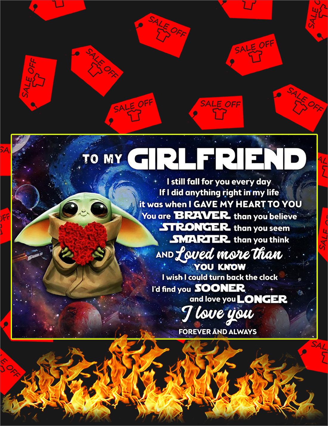 Baby yoda to my girlfriend poster - A4