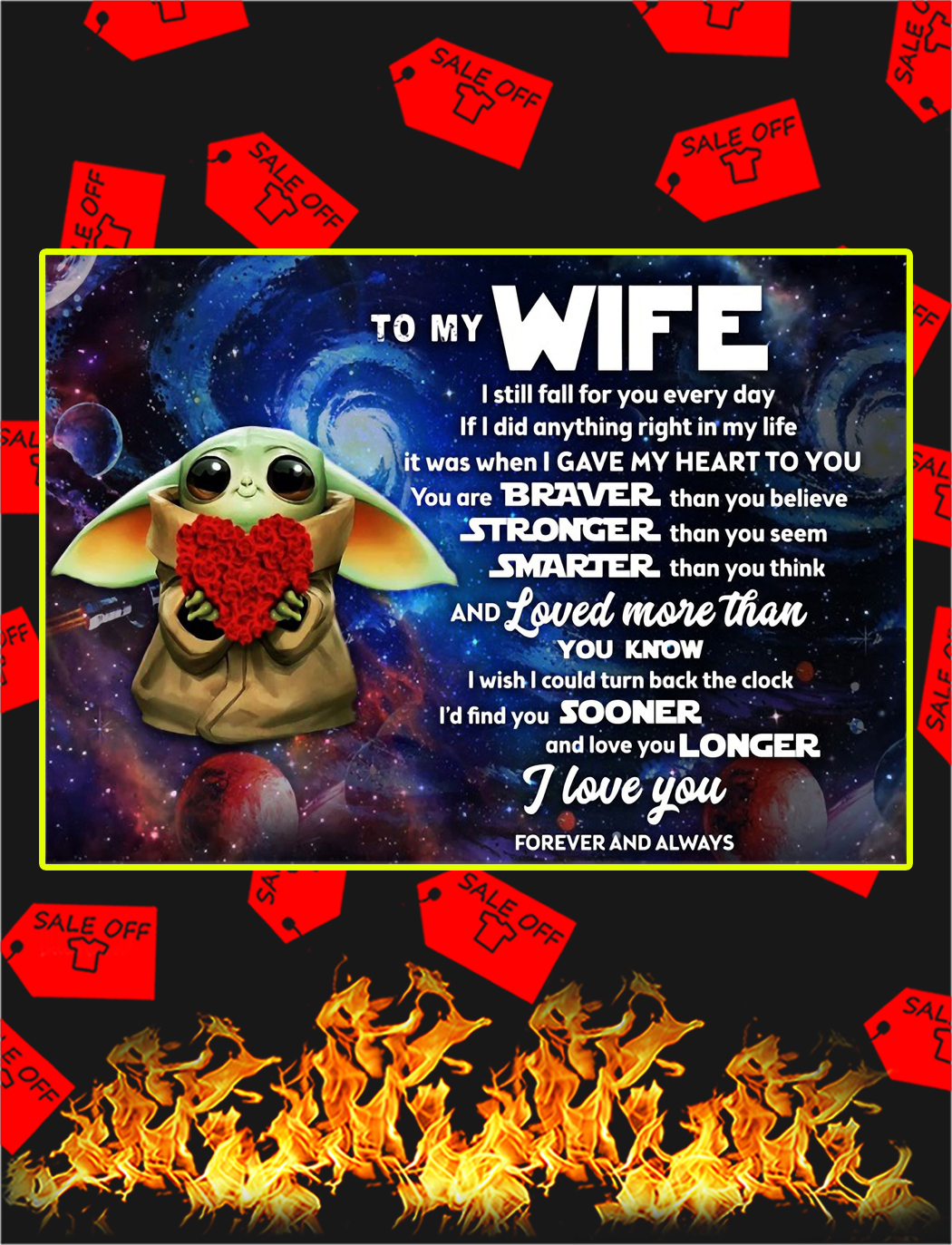 Baby yoda to my wife poster