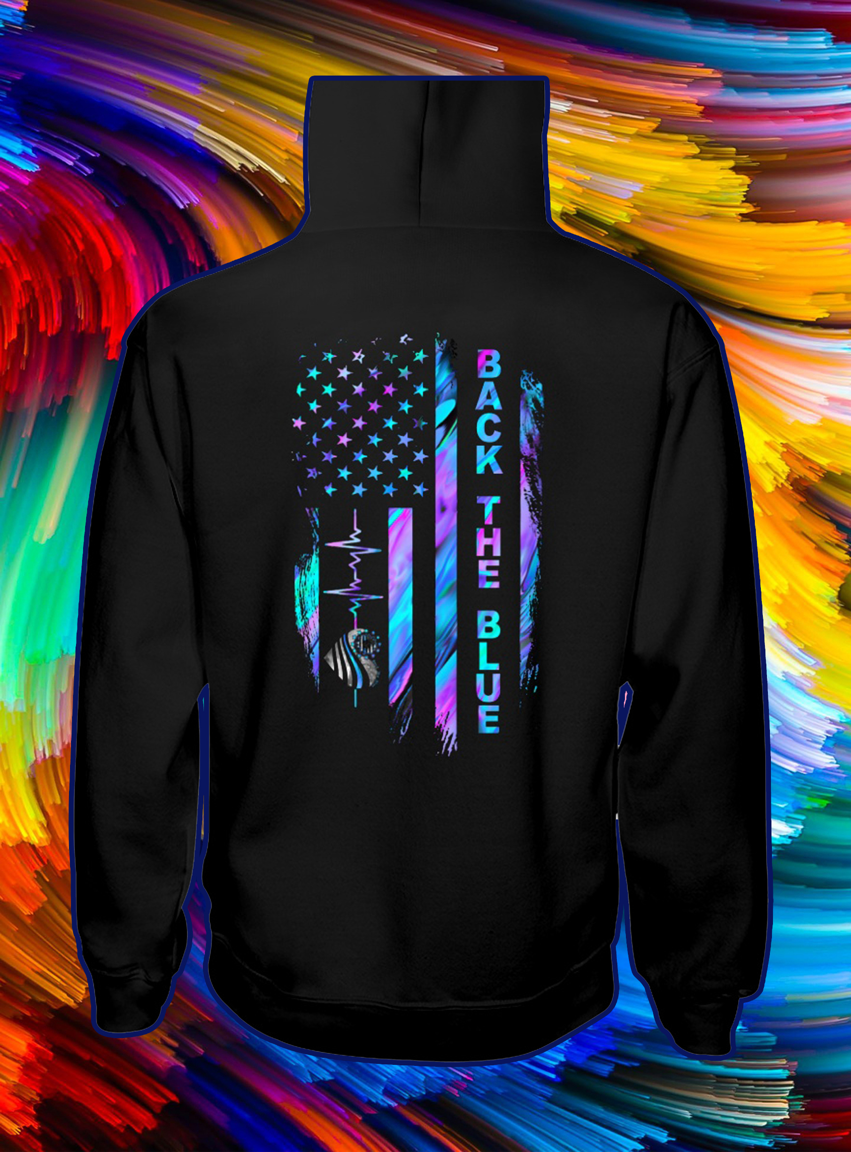Back the blue heartbeat american flag independence day hoodie