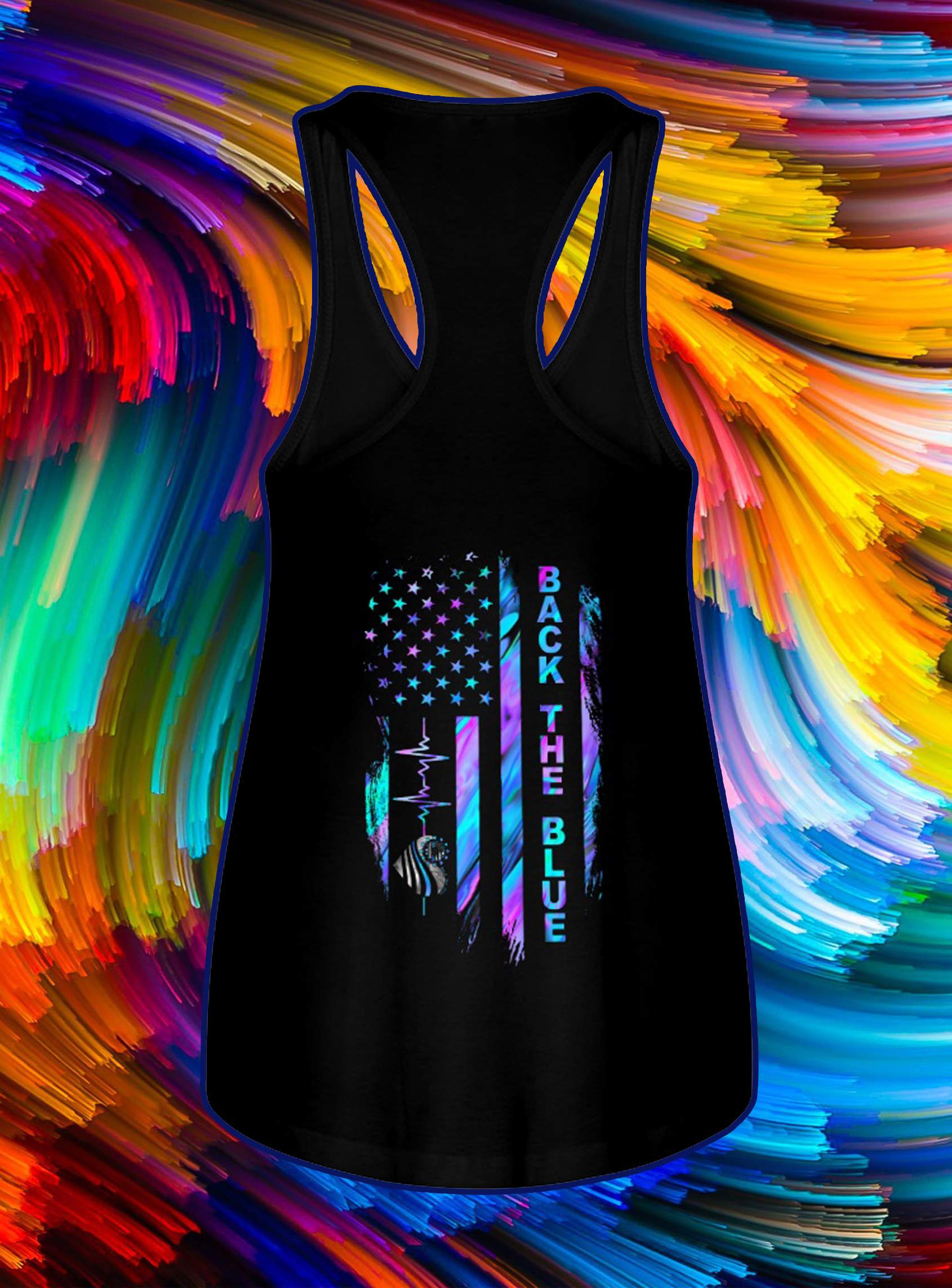 Back the blue heartbeat american flag independence day tank top