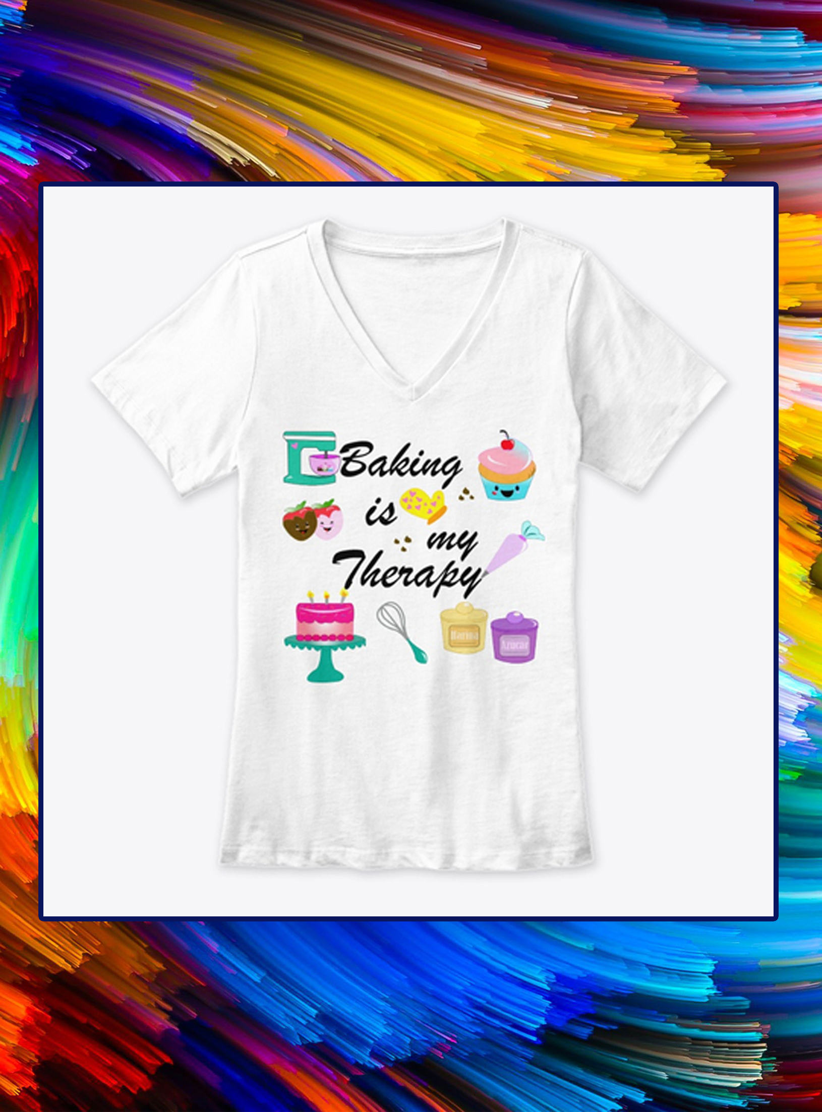 Baking is my therapy v-neck