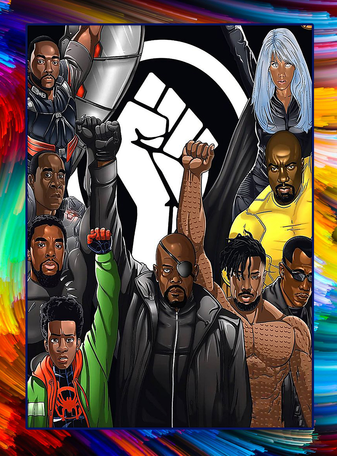 Black superheroes raised fist black power poster - A4