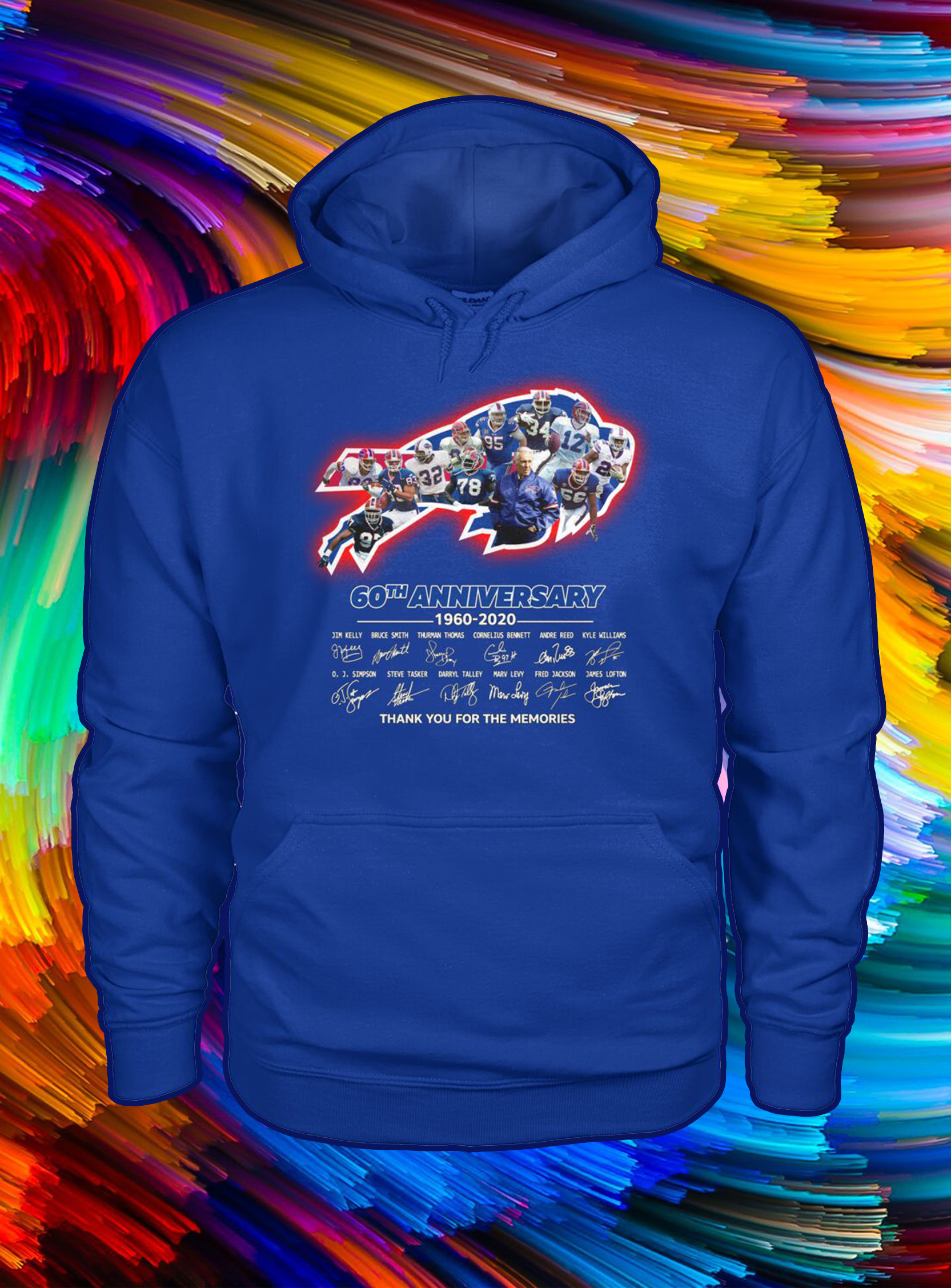 Buffalo bills 60th anniversary thank you for the memories signature hoodie