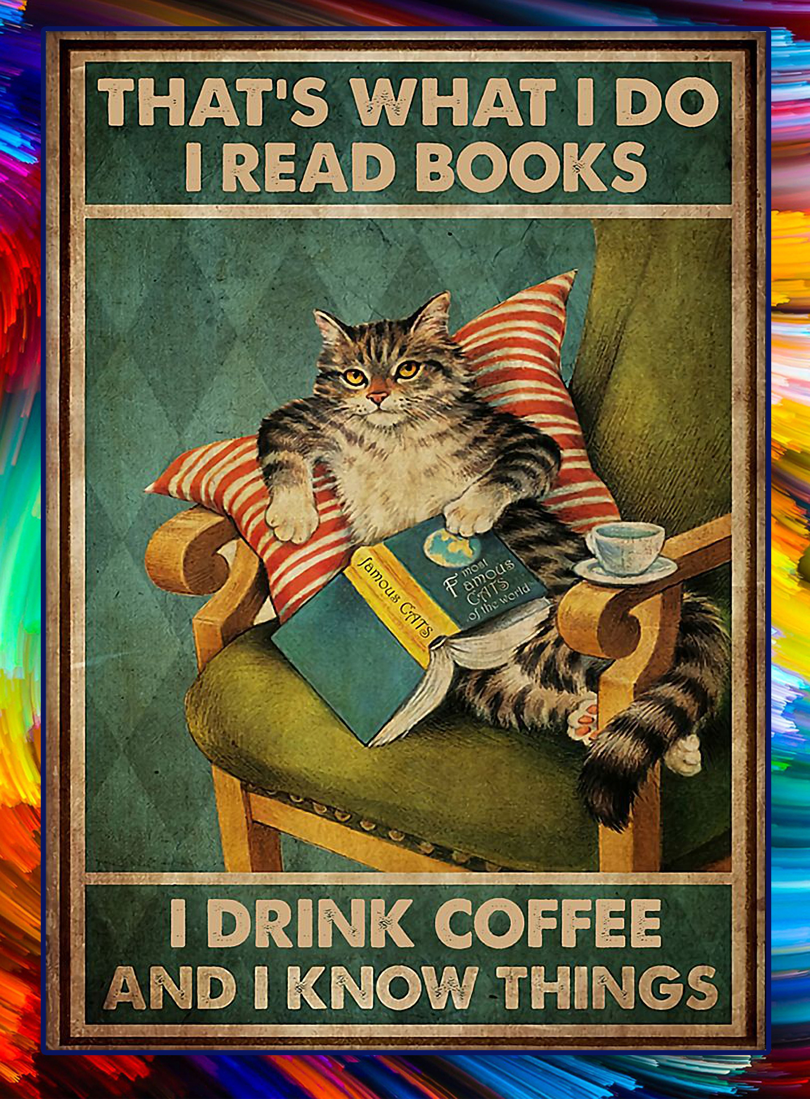 Cat that's what I do I read books I drink coffee and I know things poster - A3