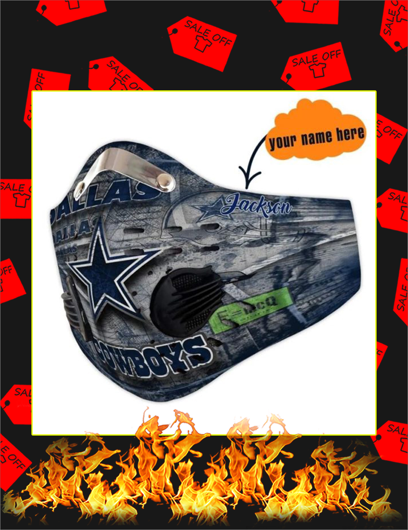 Dallas Cowboys personalized custom name filter face mask - Picture 1