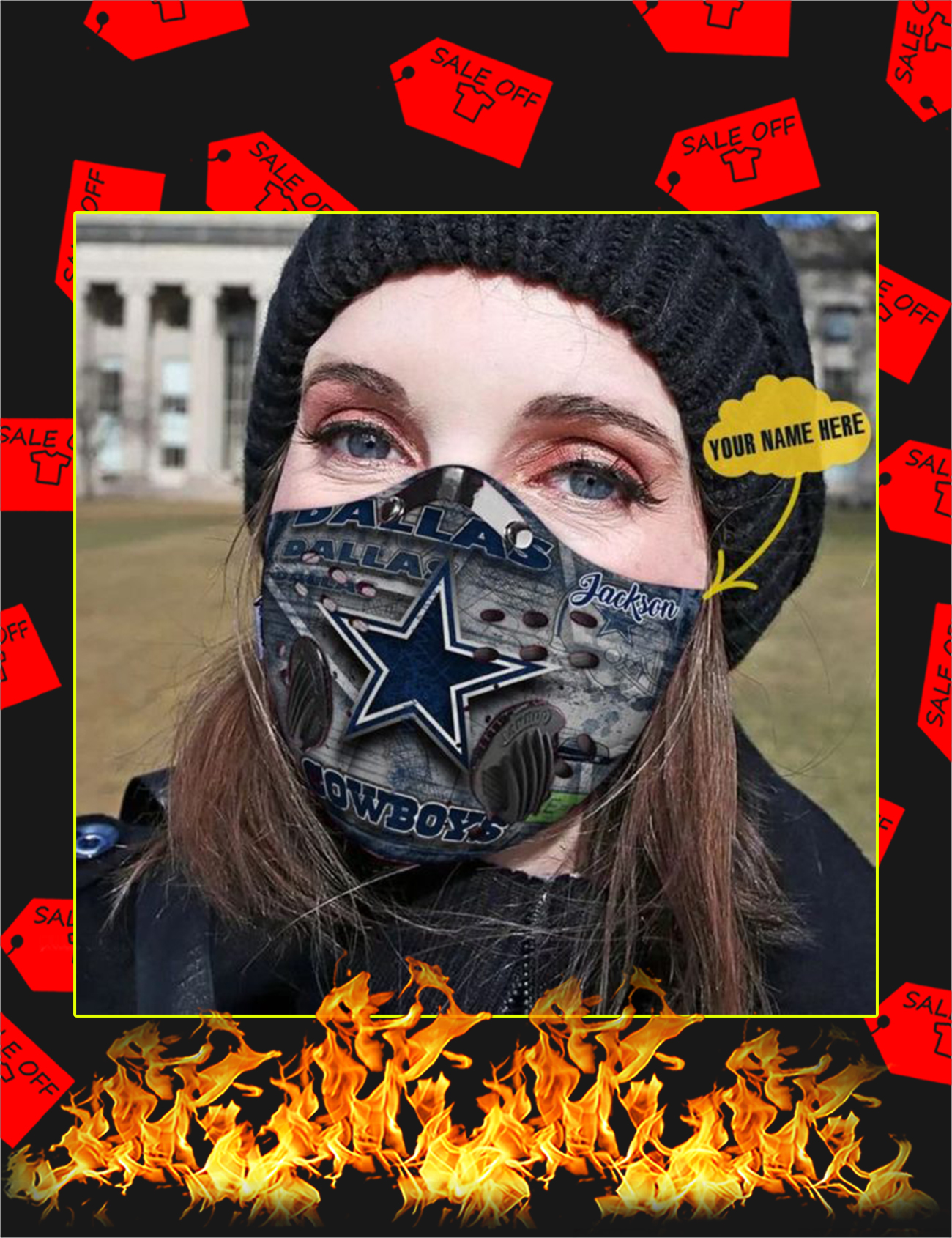 Dallas Cowboys personalized custom name filter face mask