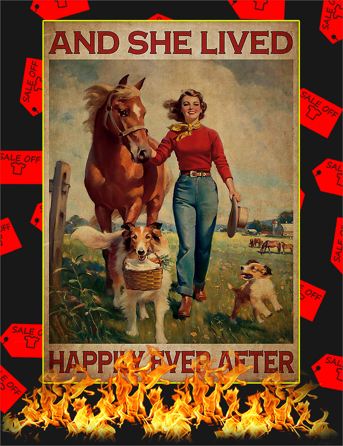 Dogs and horse And she lived happily ever after poster - A4