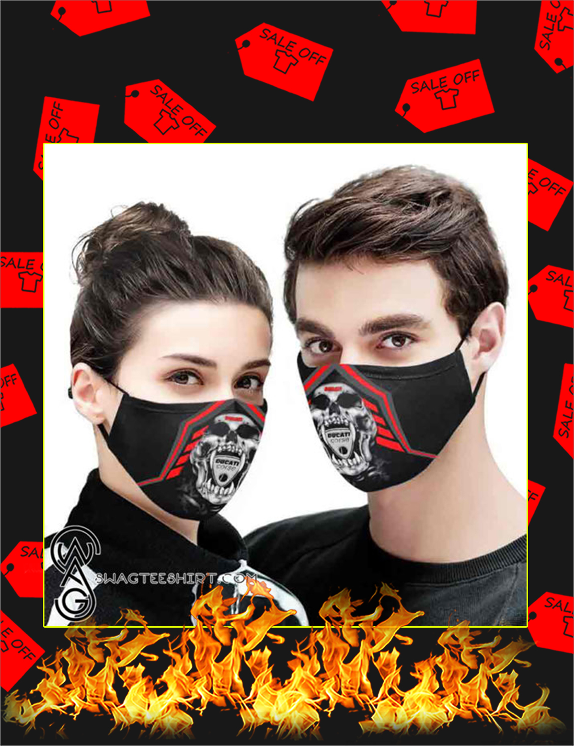 Ducati death skull all over printed face mask