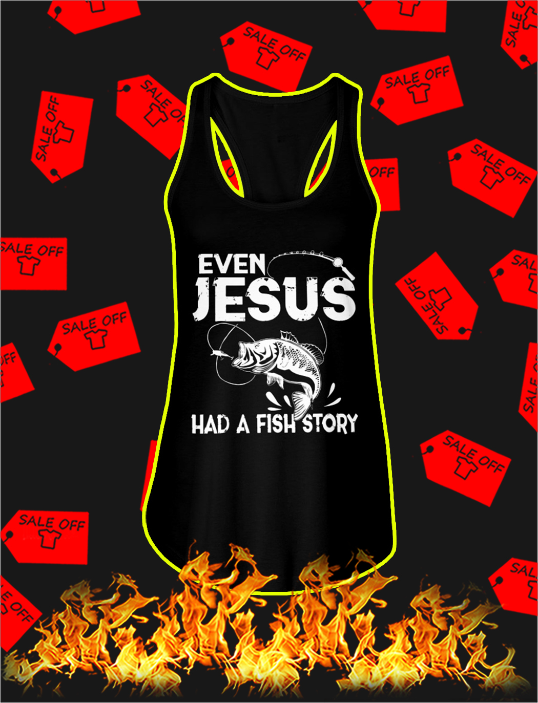 Even jesus had a fish story tank top