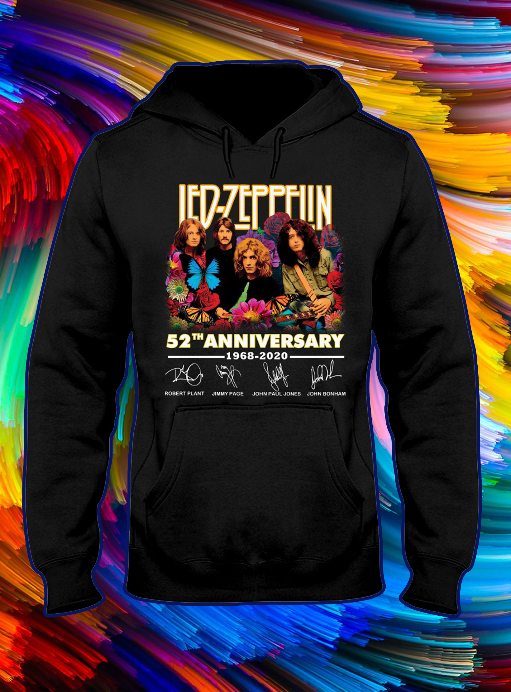 Led zeppelin 52th anniversary 1968 2020 signature hoodie