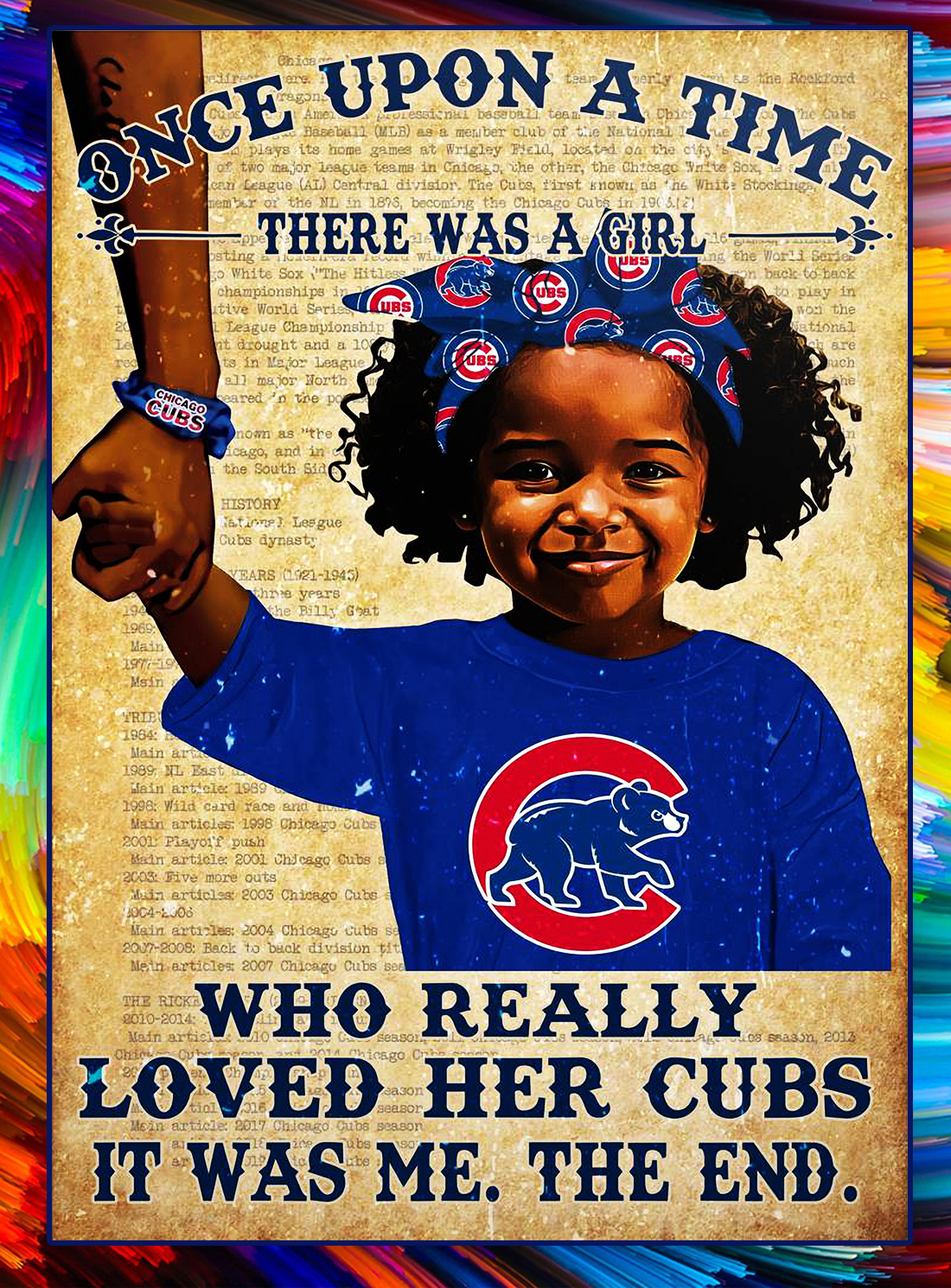 Once upon a time there was a girl who really loved her cubs poster - Black Girl