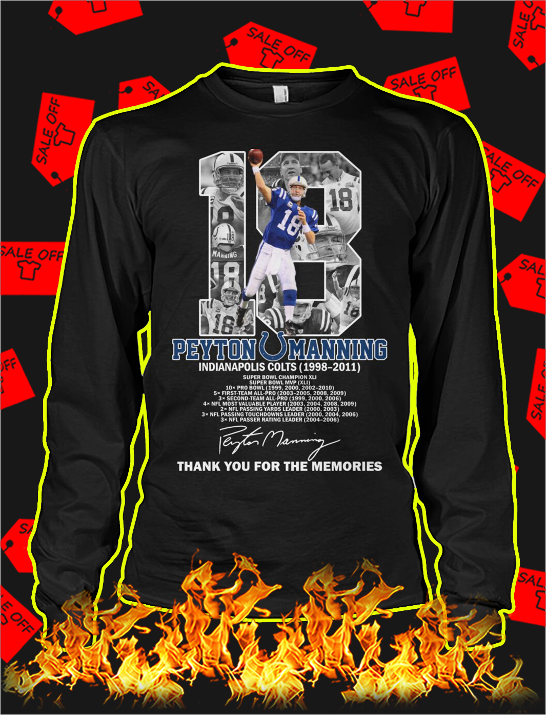 Peyton manning thank you for the memories longsleeve tee