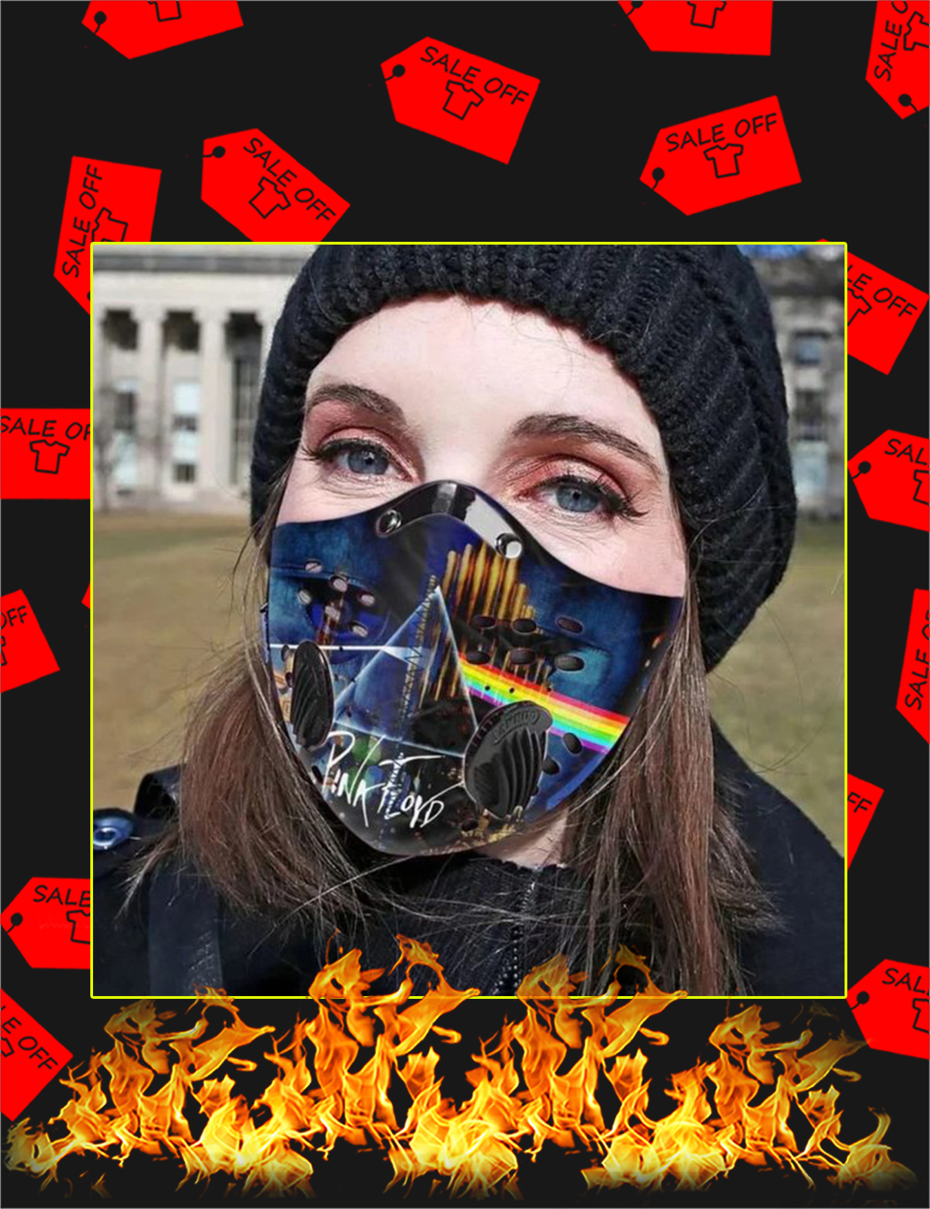 Pink floyd rock band filter face mask - Picture 1