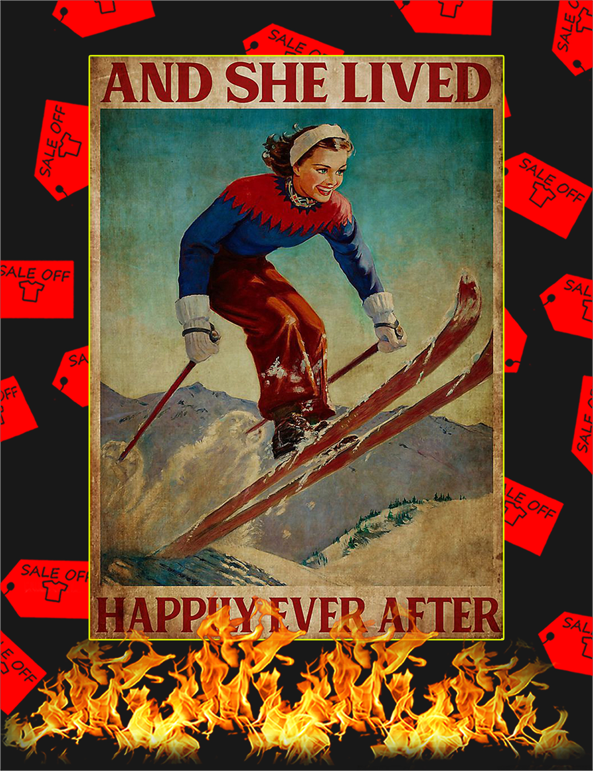 Skiing and she lived happily ever after poster - A1