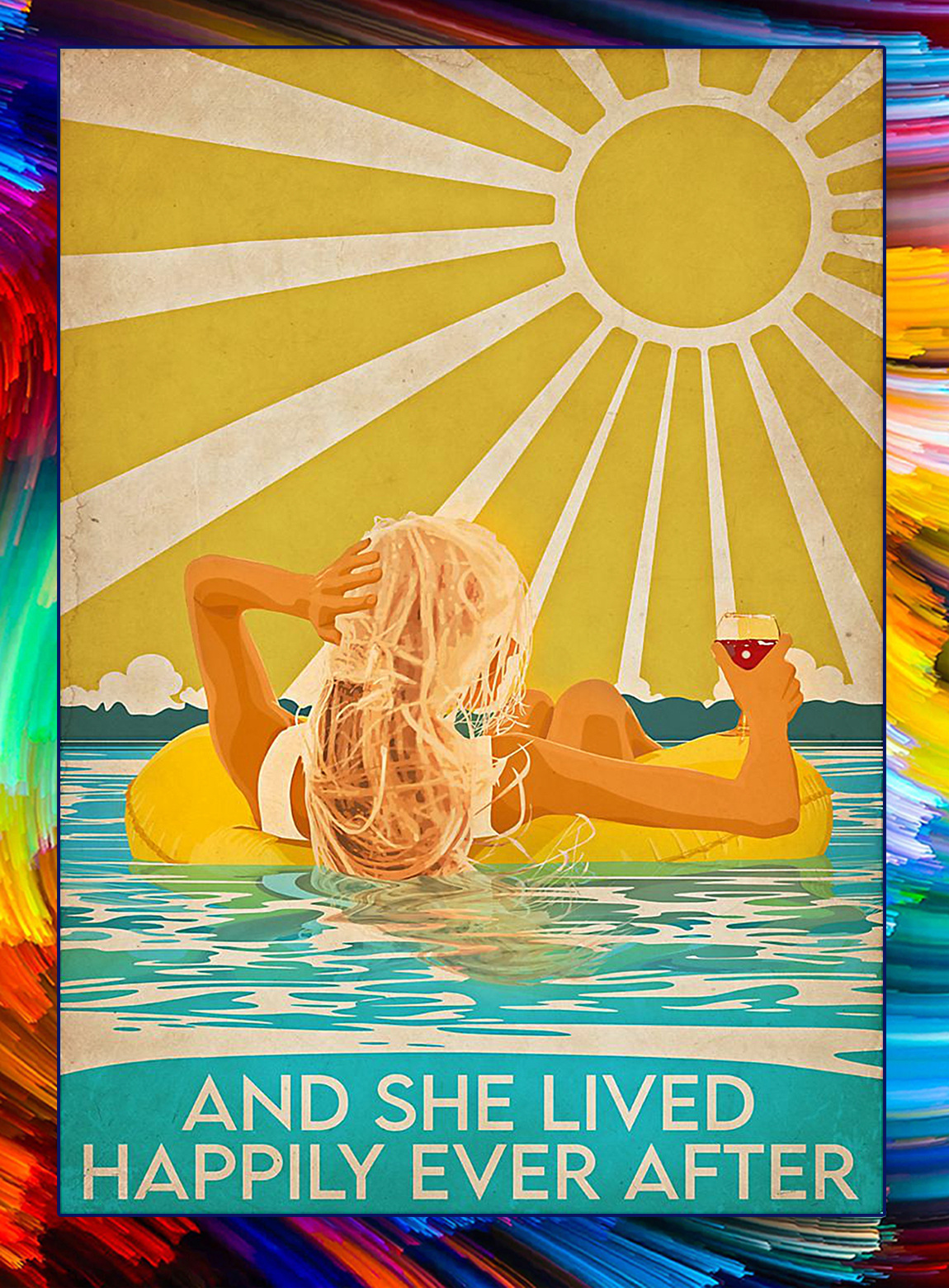 Swimming blonde girl and she lived happily after poster - A3