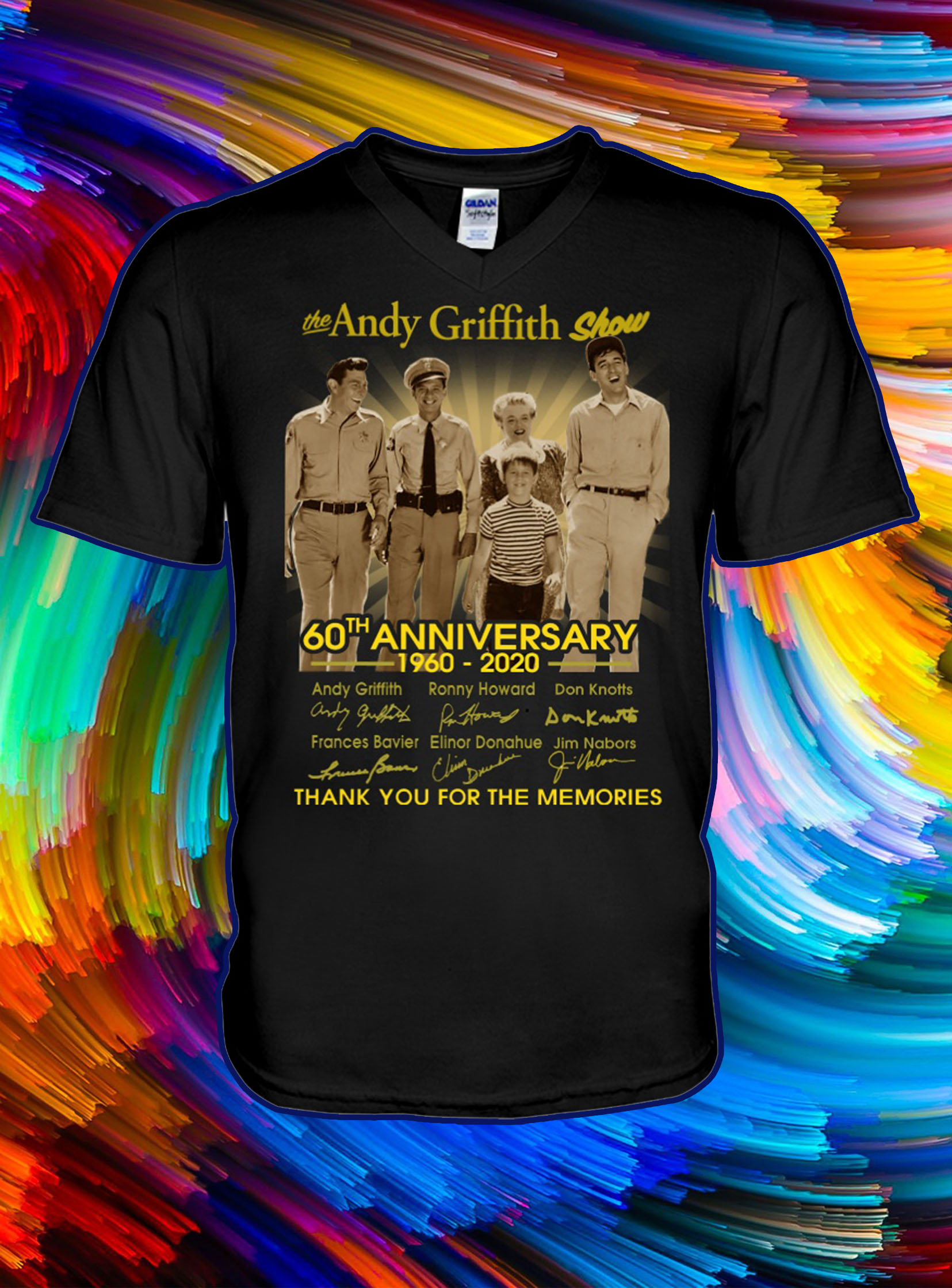 The andy griffith show 60th anniversary thank you for the memories v-neck