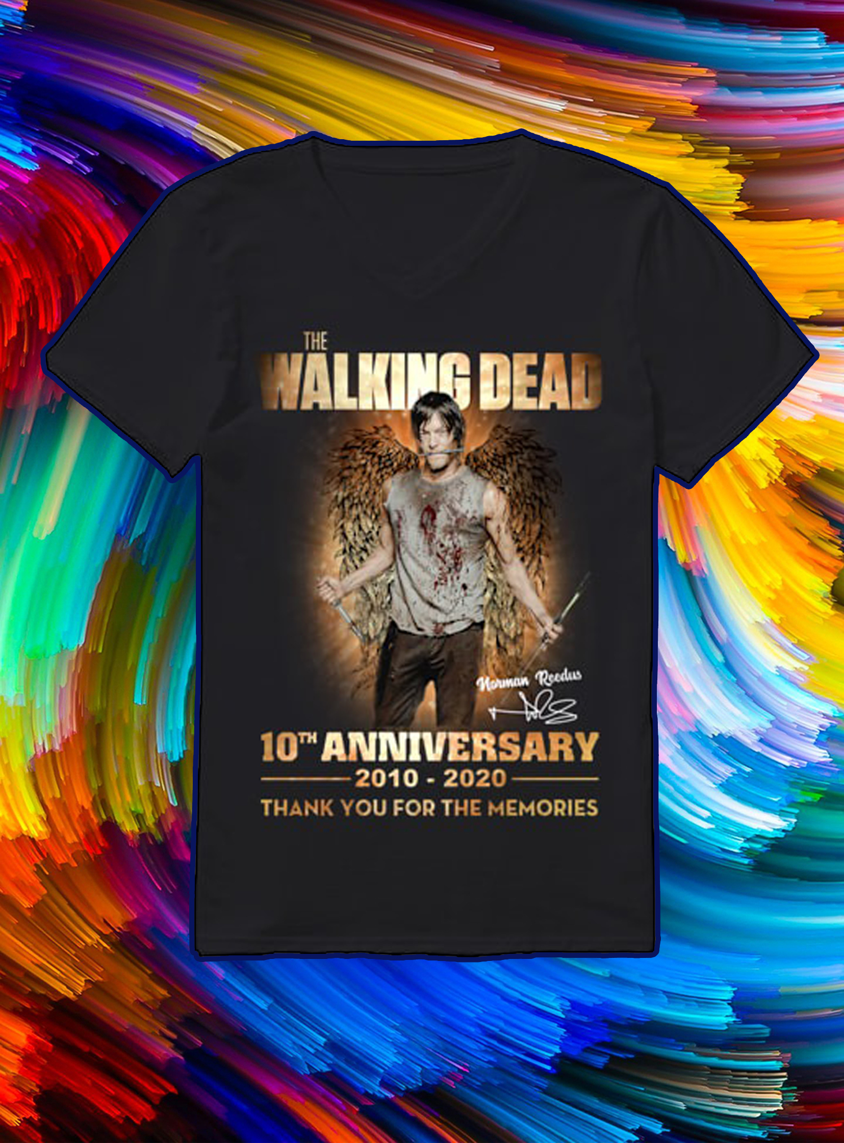 The walking dead 10th anniversary 2010 2020 thank you for the memories v-neck
