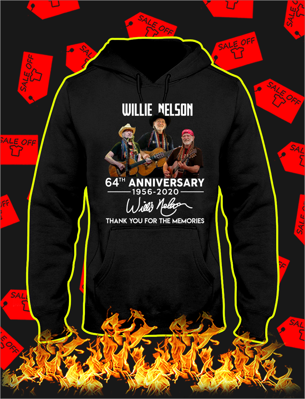 Willie nelson 64th anniversary thank you for the memories hoodie