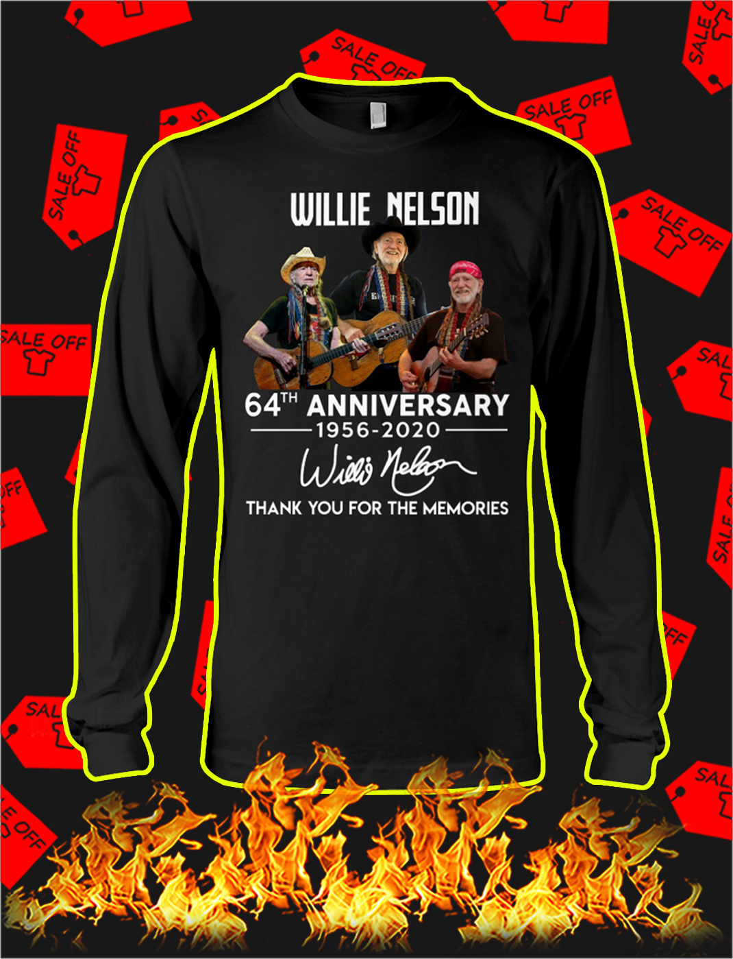 Willie nelson 64th anniversary thank you for the memories longsleeve tee