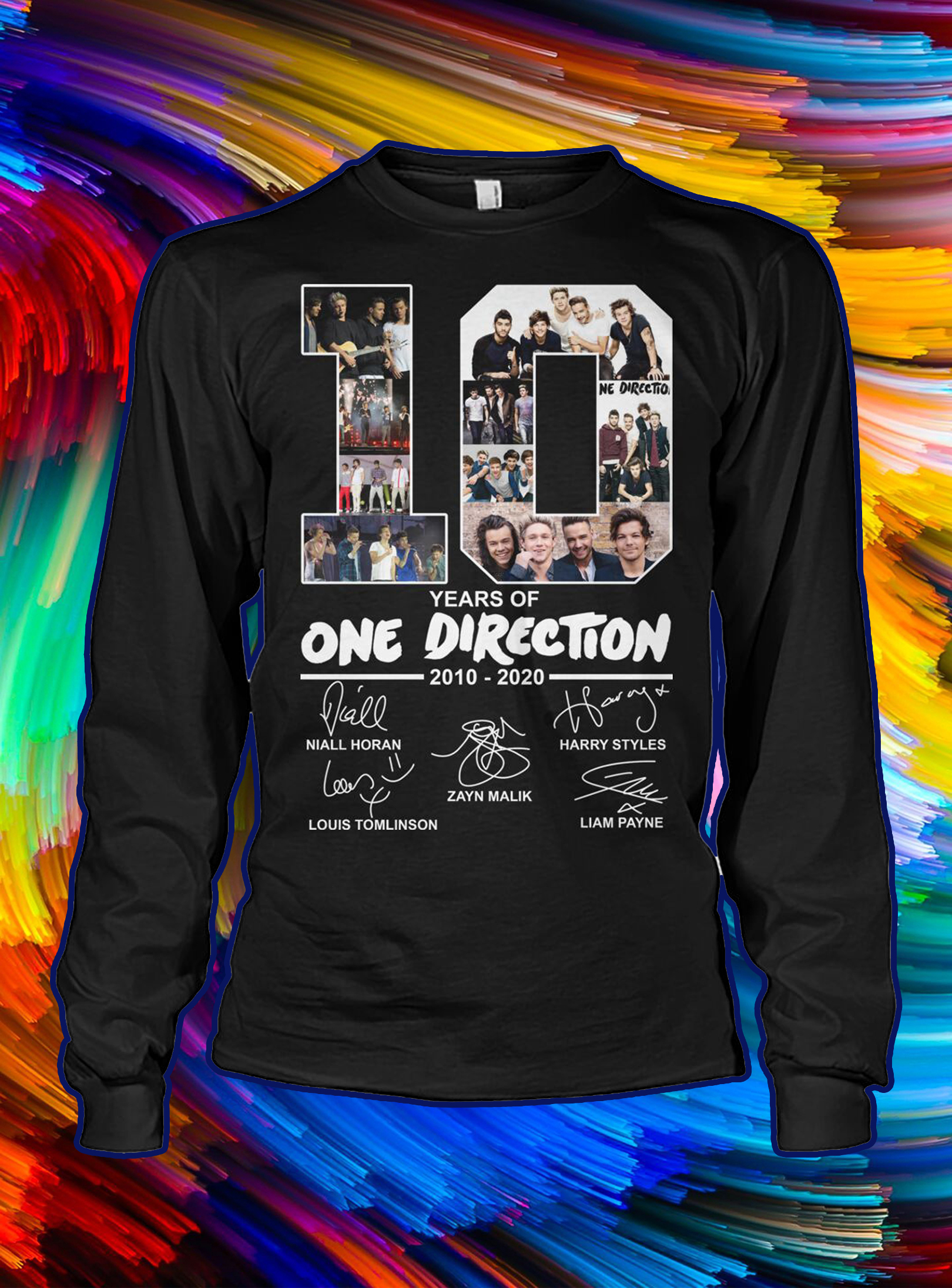 10 years of one direction 2010 2020 signature longsleeve tee