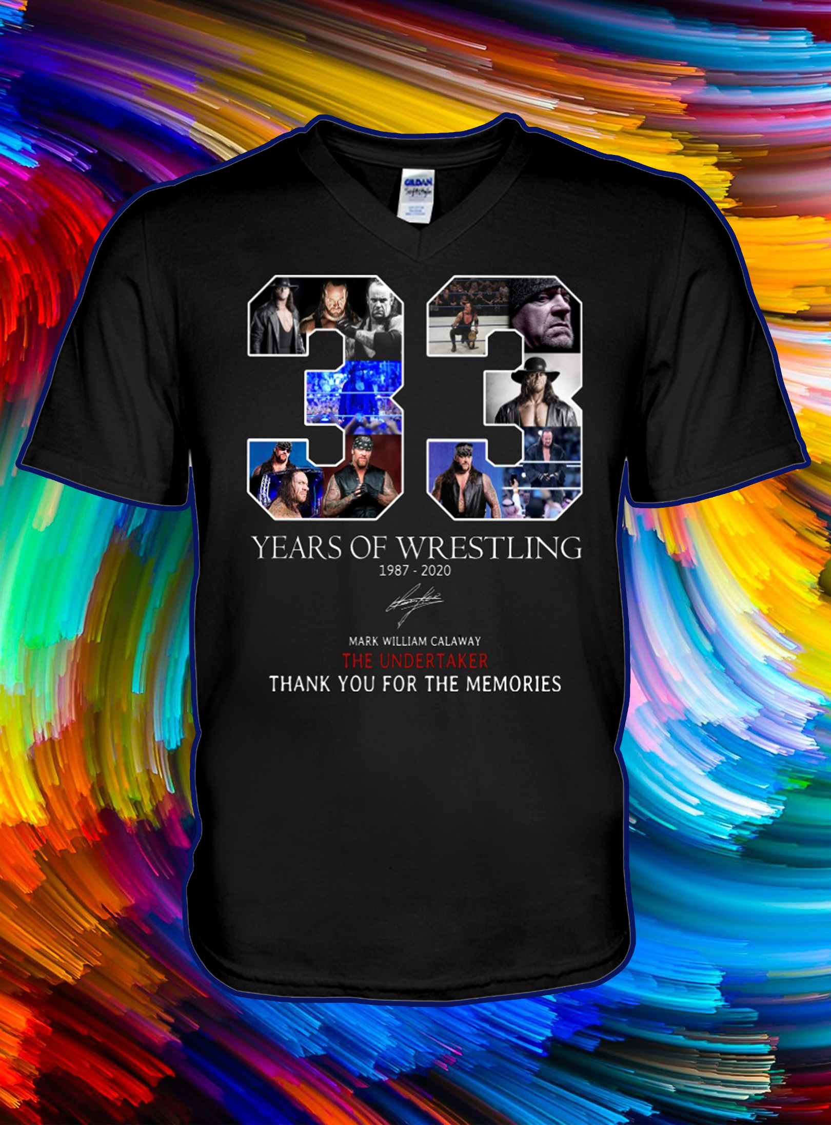 33 years of wrestling thank you for the memories v-neck