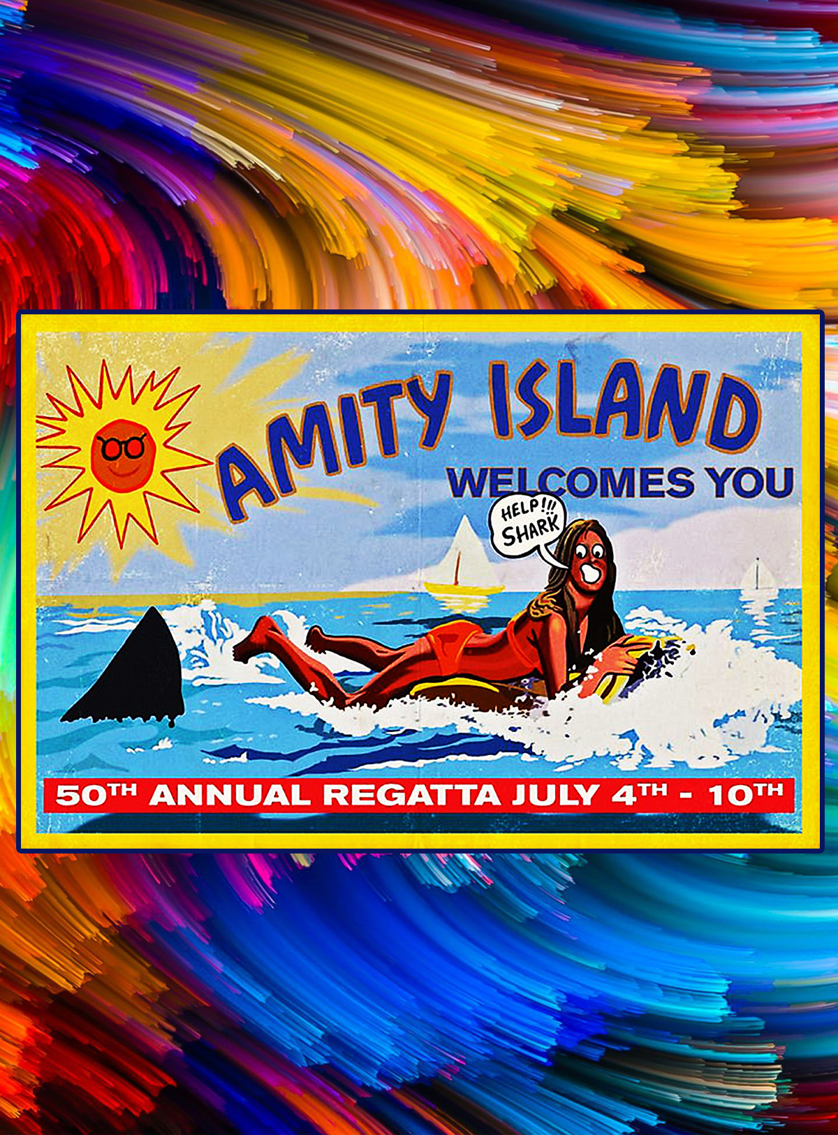 Amity island welcomes you poster - A4