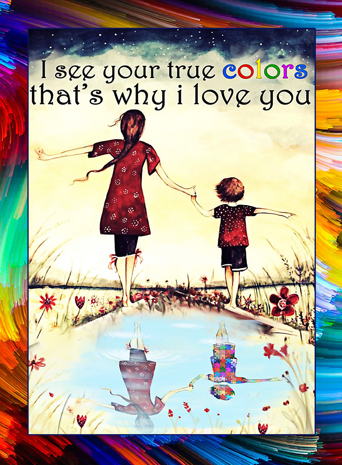 Autism I see your true colors poster - A4