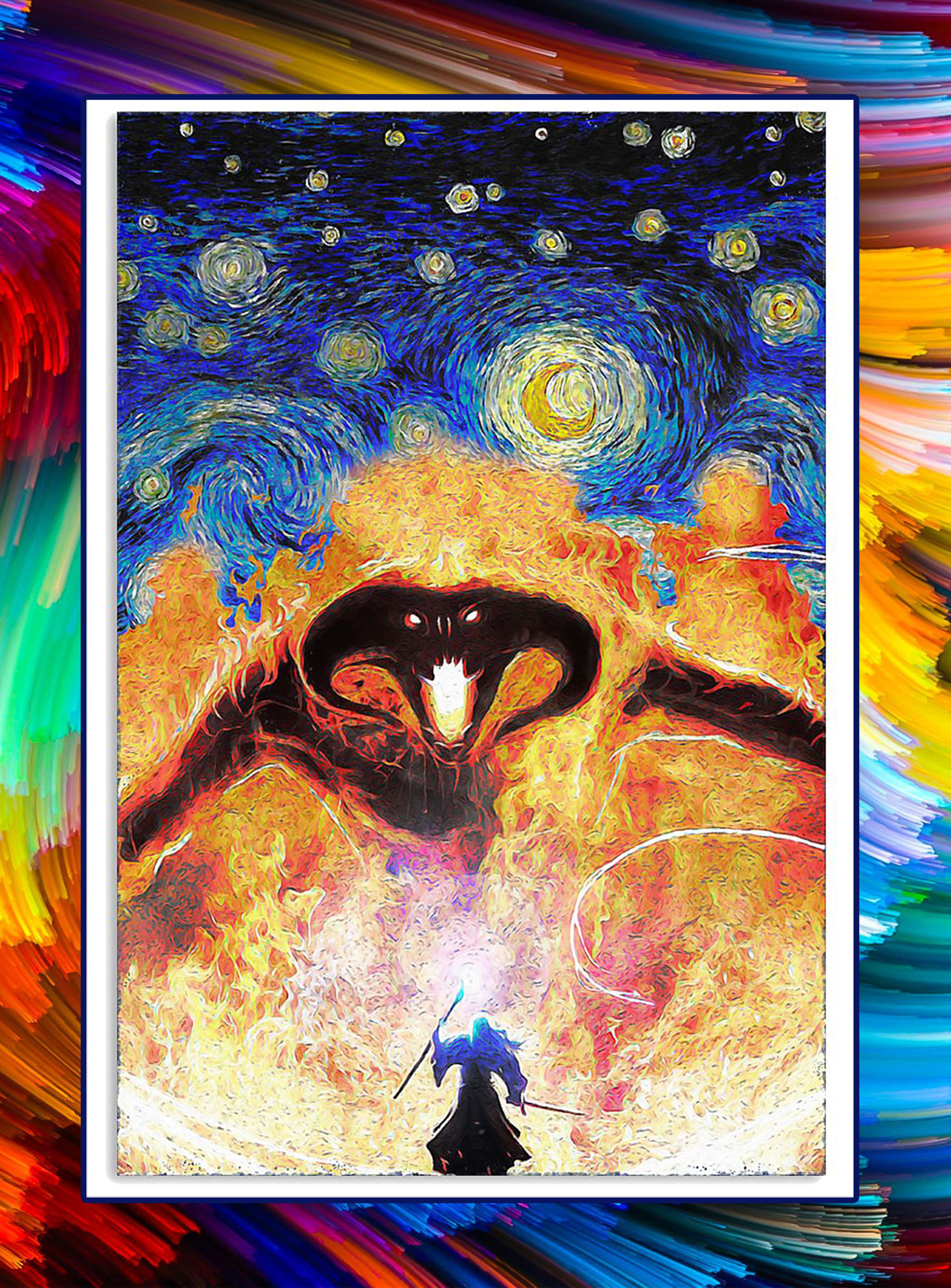 Balrog fire demon starry night poster - A2