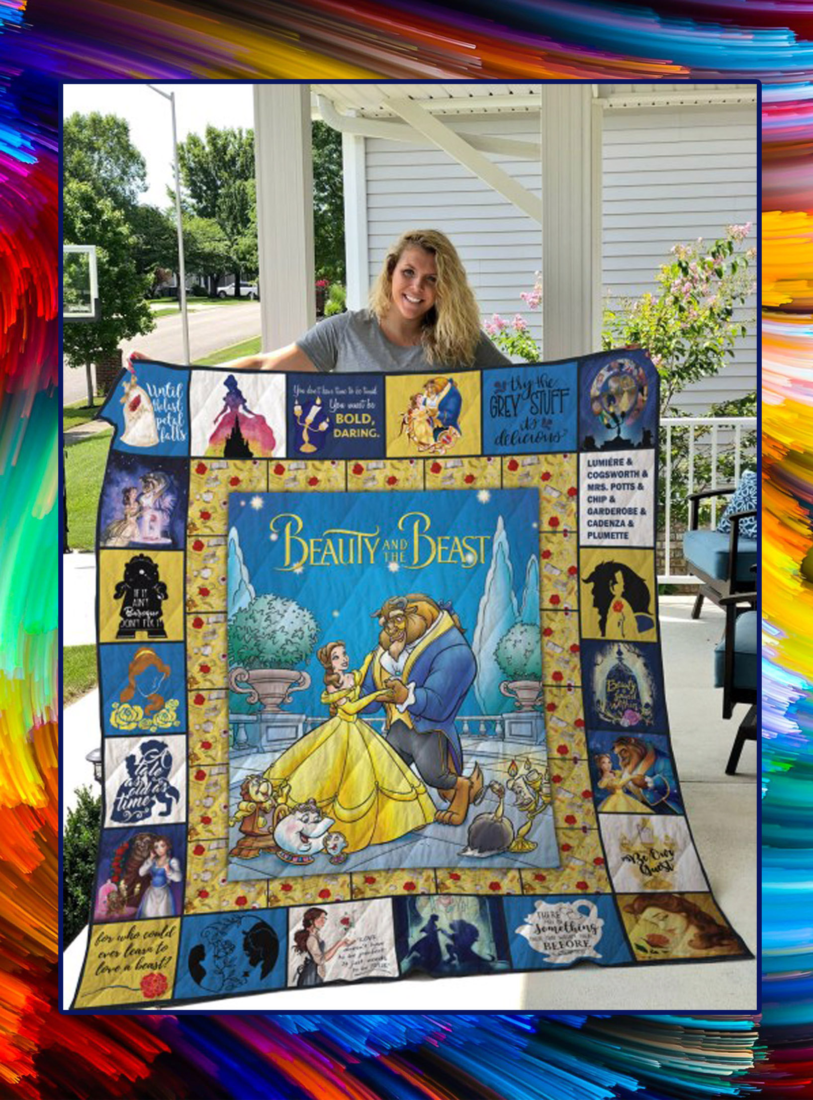 Beauty and the beast quilt blanket - queen
